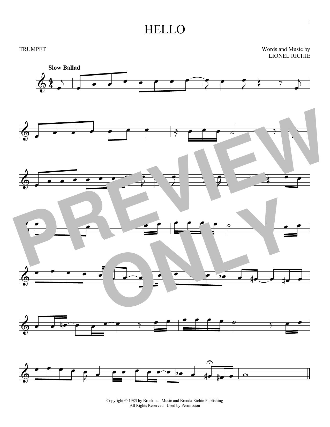 Partition autre Hello de Lionel Richie - Trompette