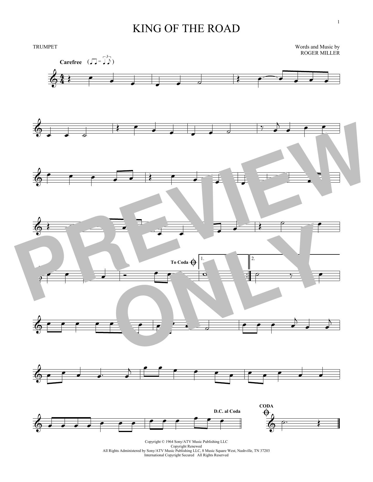 Partition autre King Of The Road de Roger Miller - Trompette