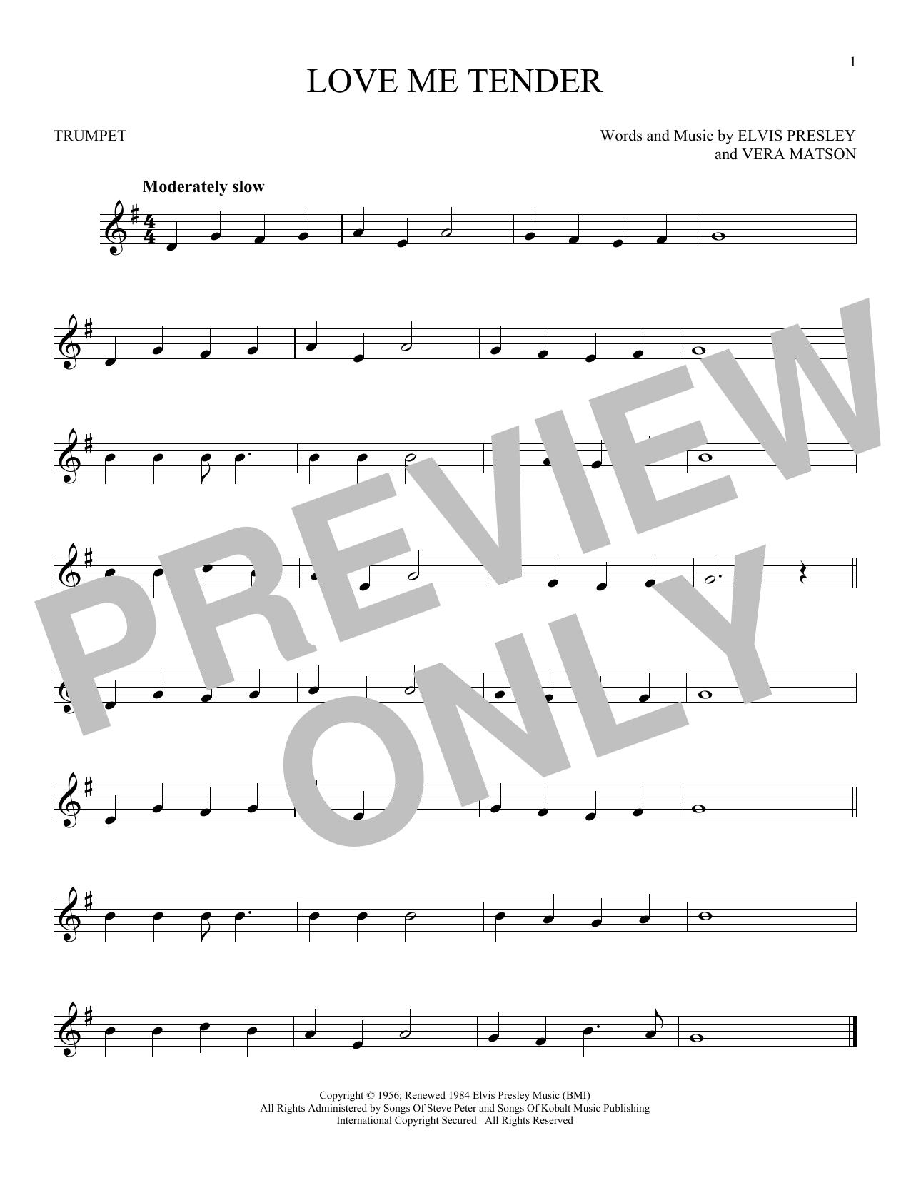 Partition autre Love Me Tender de Elvis Presley - Trompette