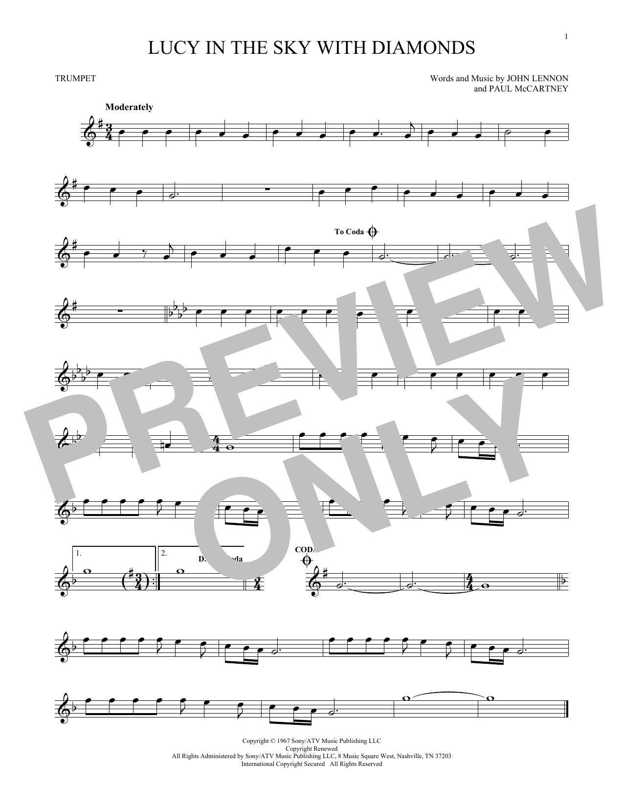 Partition autre Lucy In The Sky With Diamonds de The Beatles - Trompette