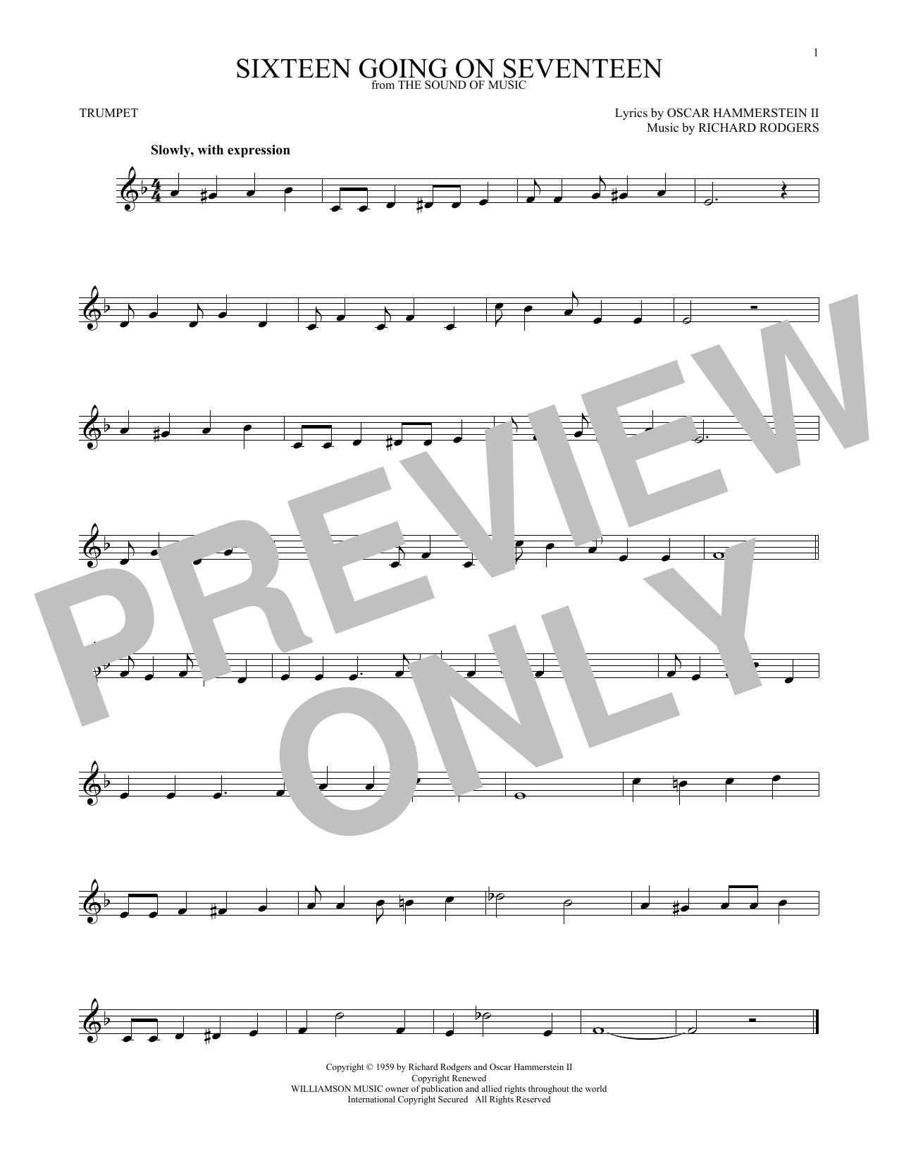 Partition autre Sixteen Going On Seventeen de Rodgers & Hammerstein - Trompette
