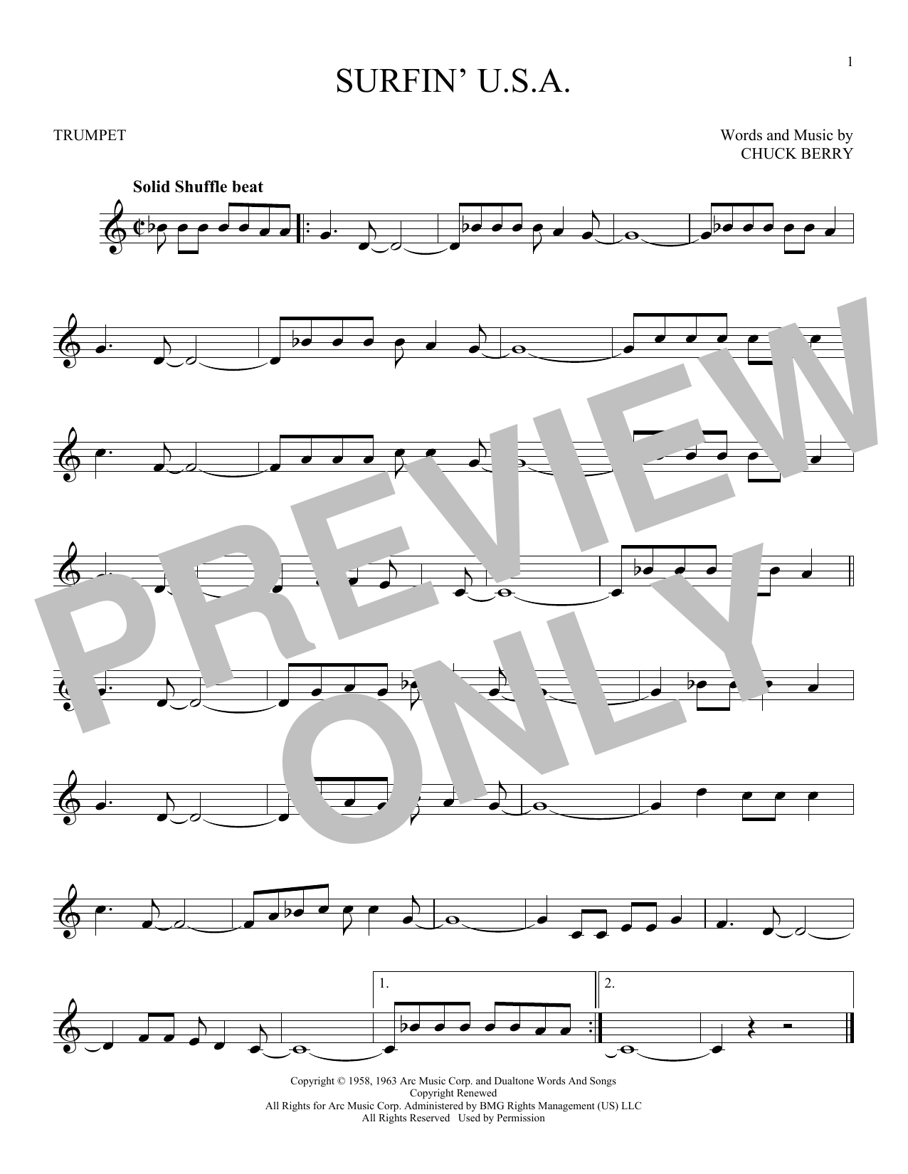 Sheet music digital files to print licensed chuck berry digital surfin usa hexwebz Images