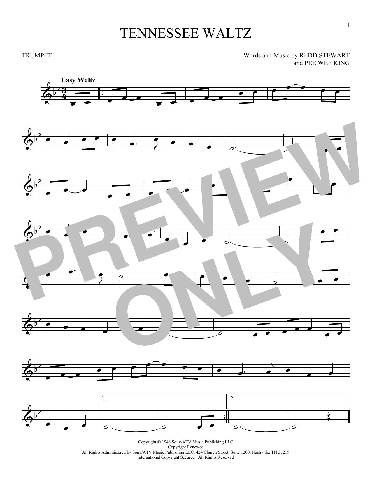 Partition autre Tennessee Waltz de Pee Wee King - Trompette