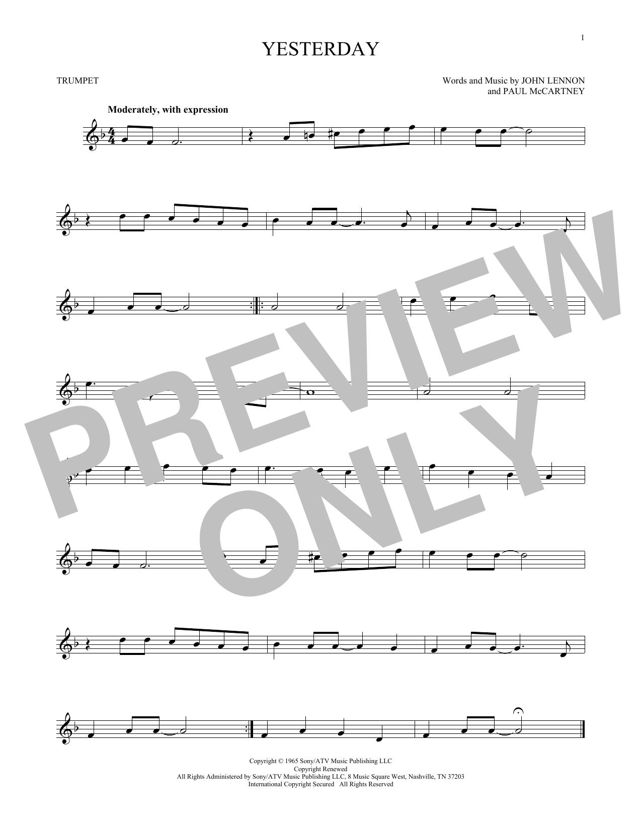 Partition autre Yesterday de The Beatles - Trompette