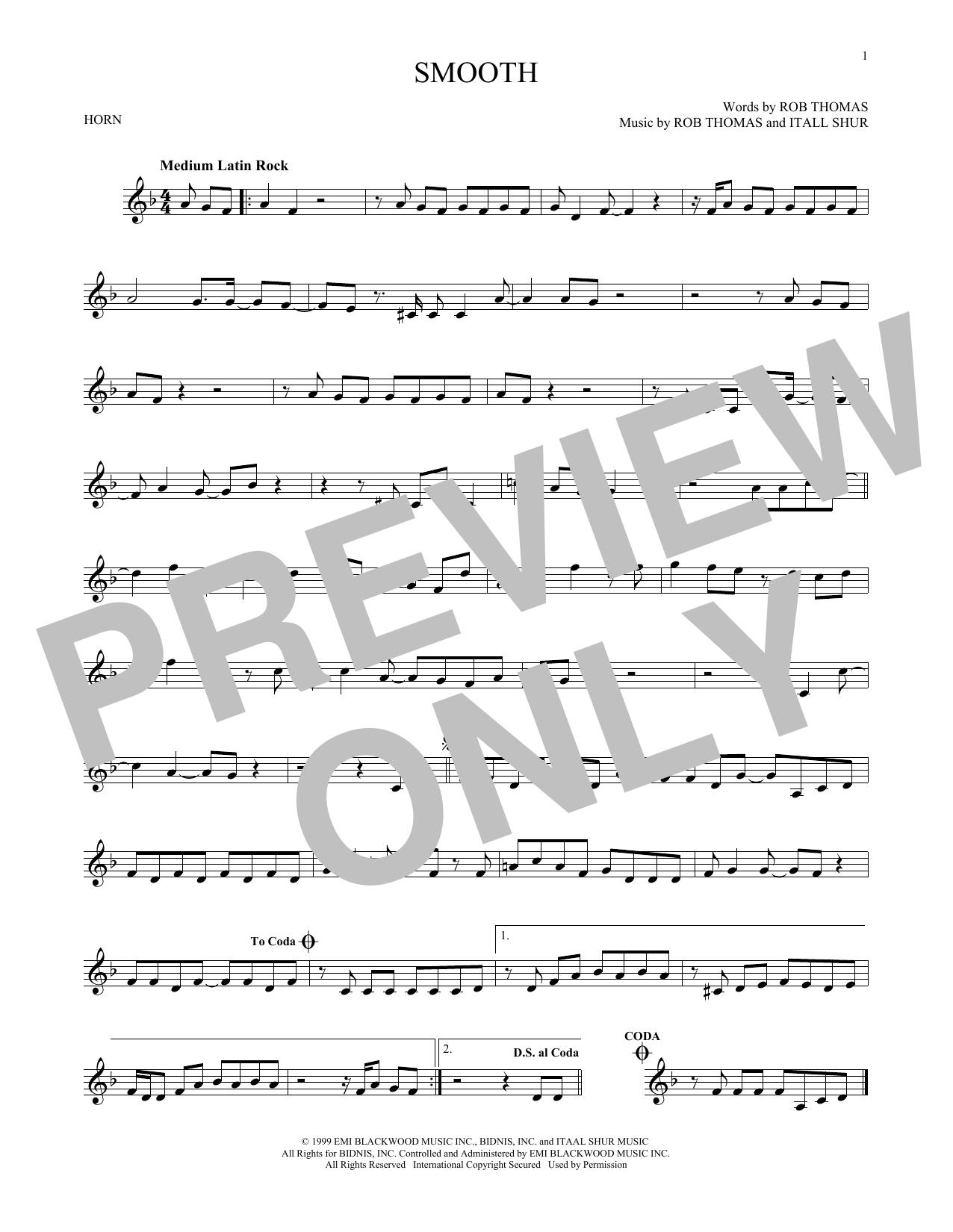 Partition autre Smooth de Santana featuring Rob Thomas - Cor
