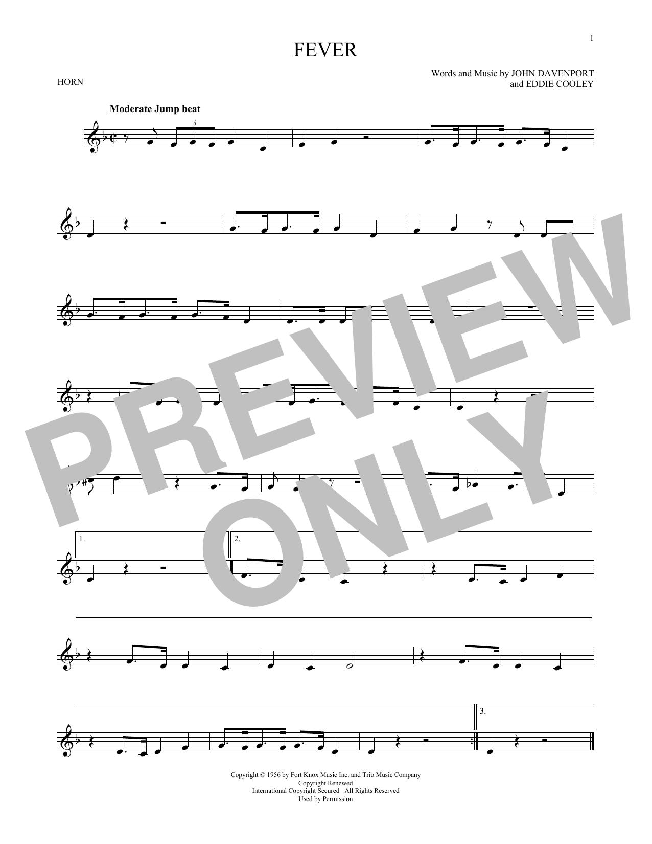 Partition autre Fever de Eddie Cooley - Cor