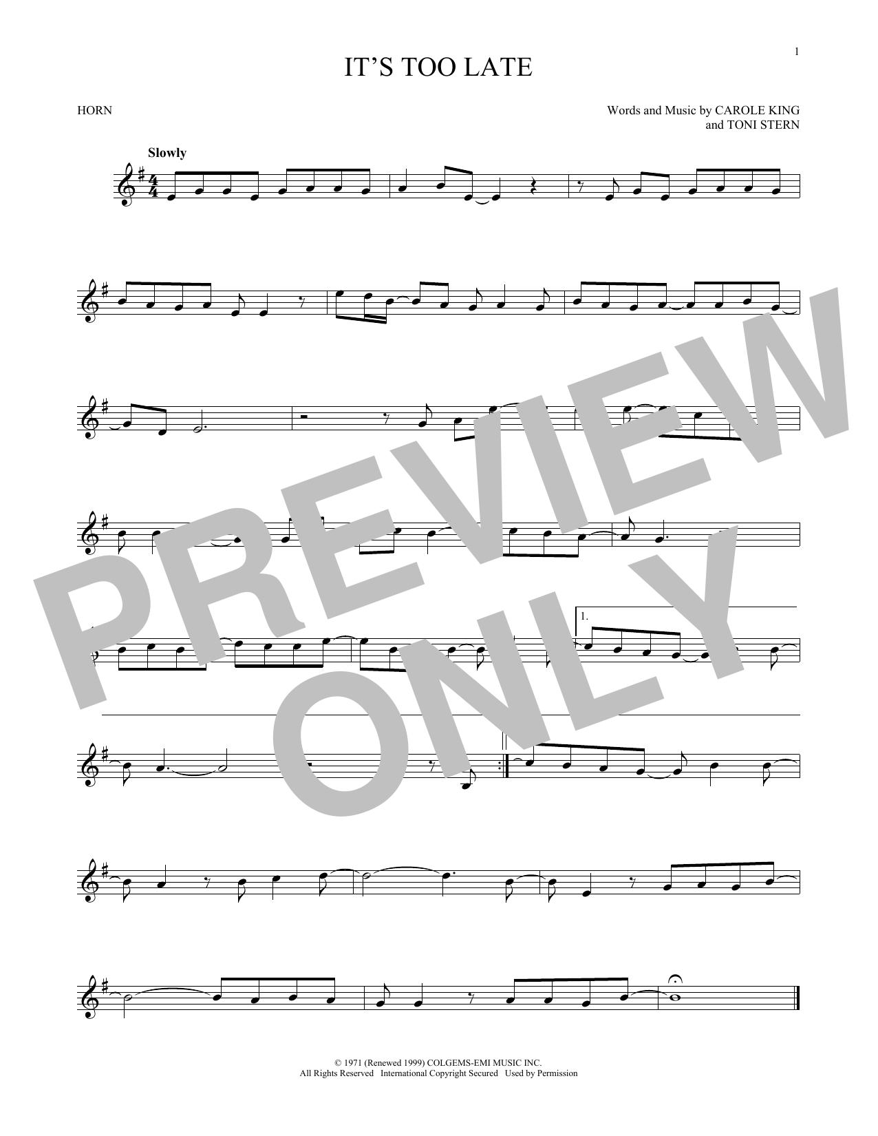 Partition autre It's Too Late de Carole King - Cor