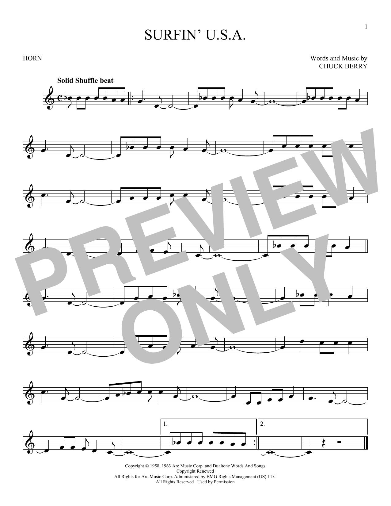 Partition autre Surfin' U.S.A. de The Beach Boys - Cor