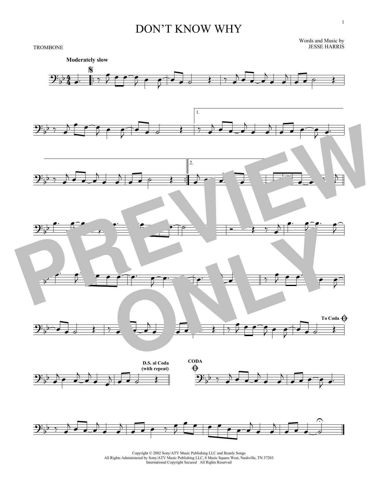 Partition autre Don't Know Why de Norah Jones - Trombone