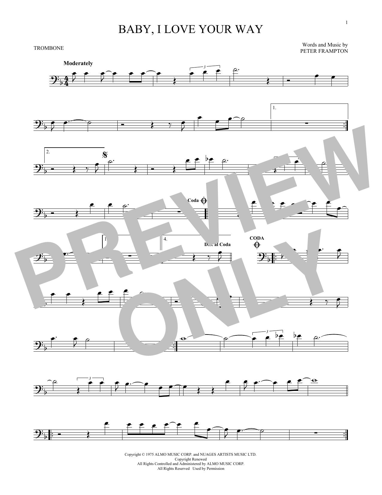 Partition autre Baby, I Love Your Way de Peter Frampton - Trombone