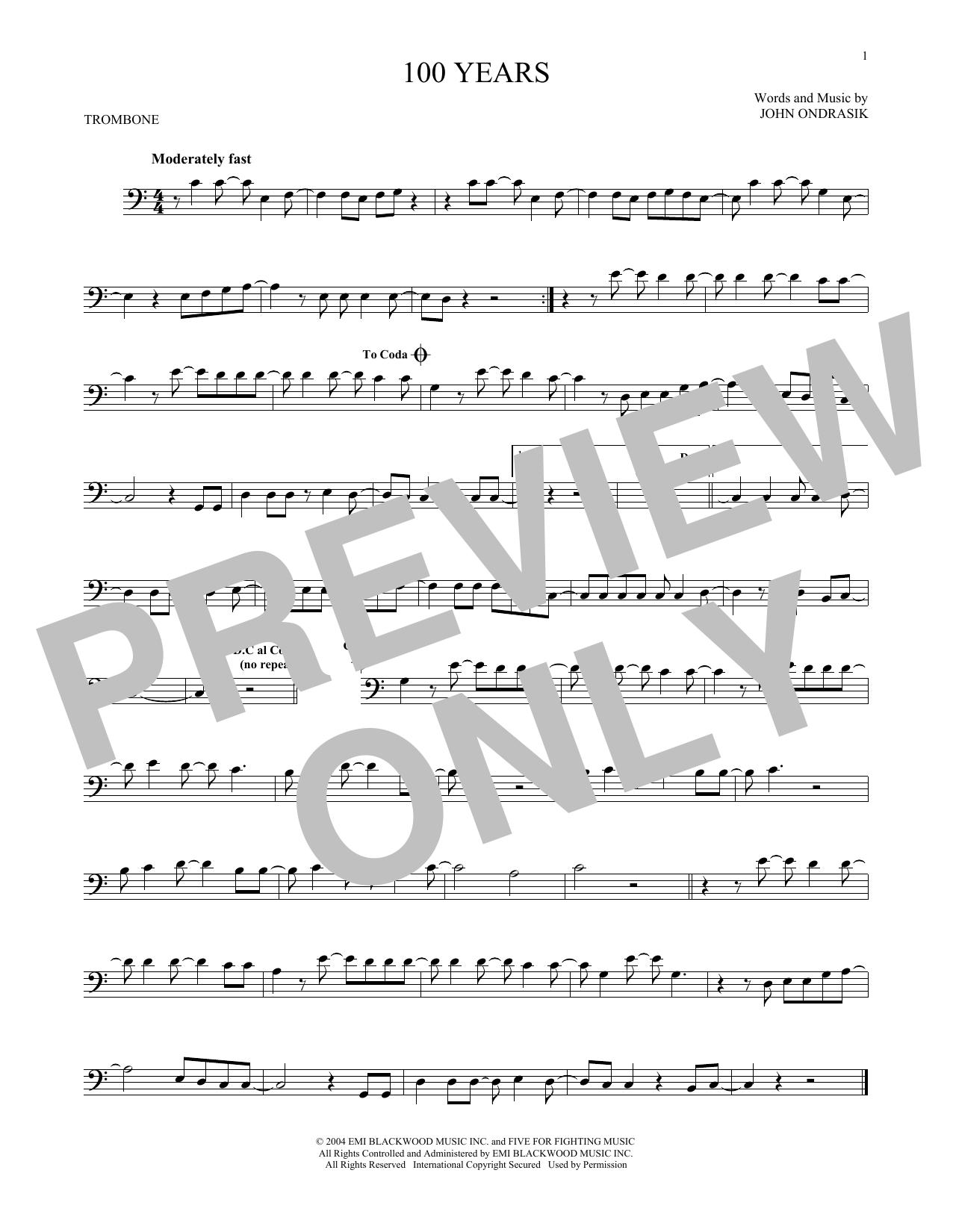 Partition autre 100 Years de Five For Fighting - Trombone