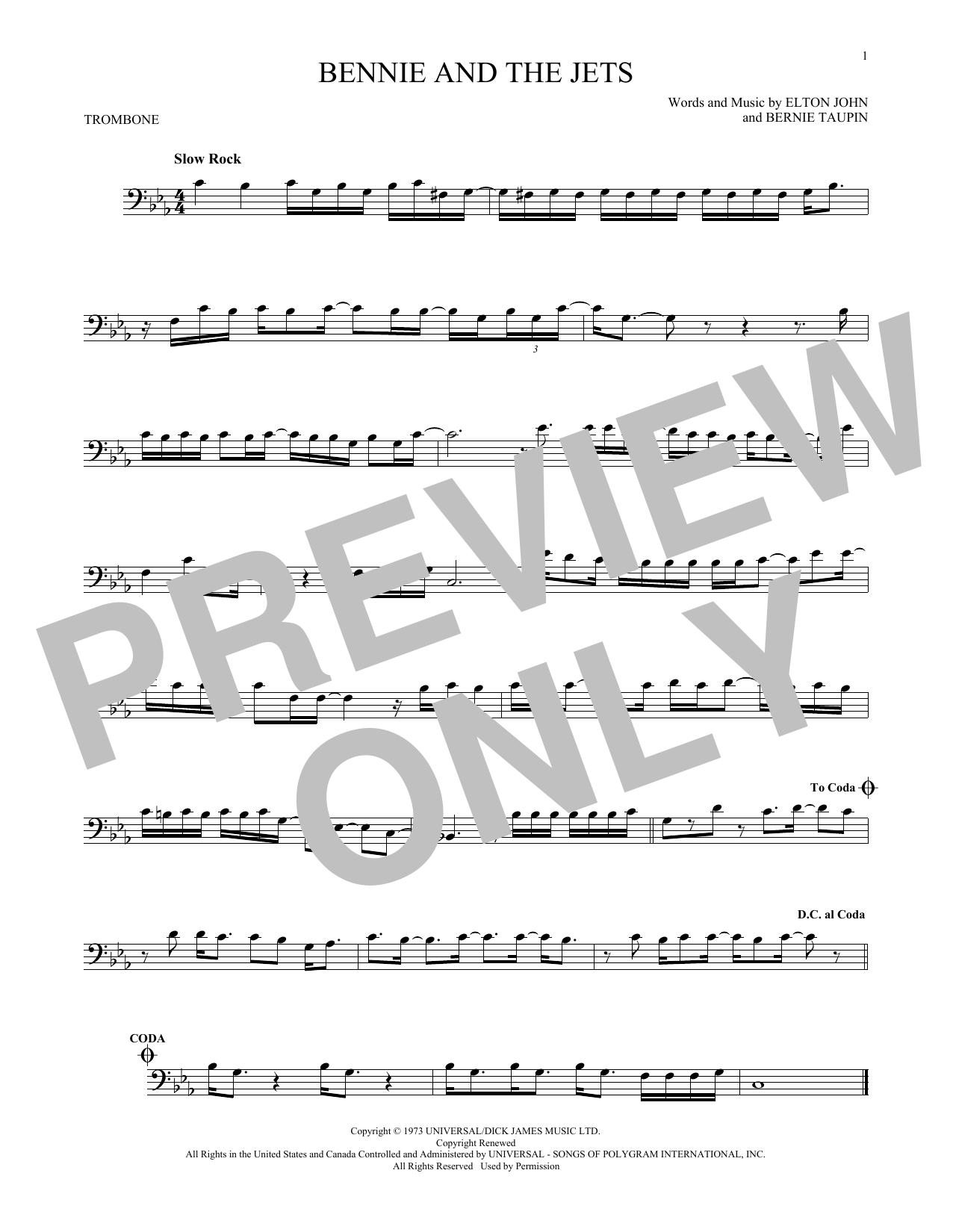 Partition autre Bennie And The Jets de Elton John - Trombone