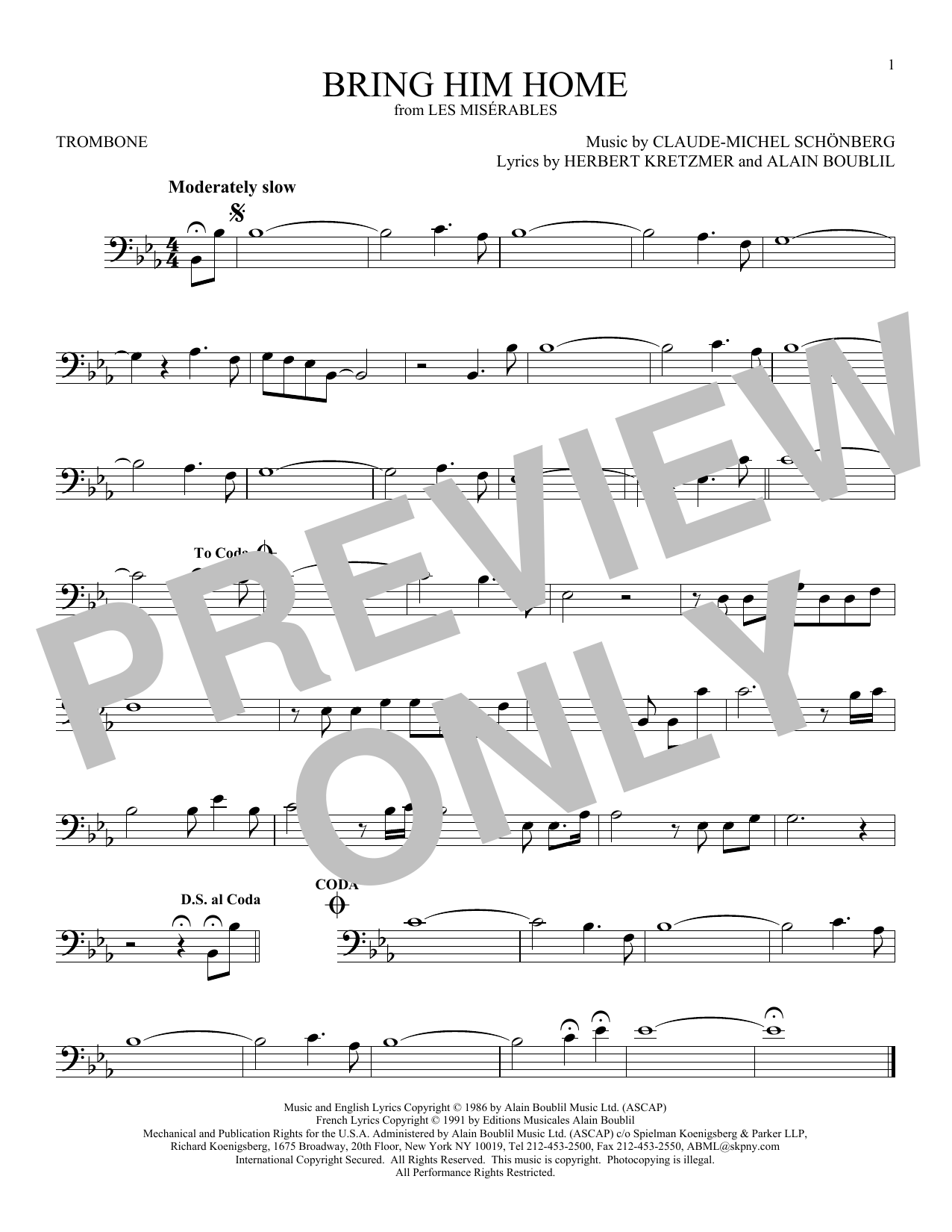 Partition autre Bring Him Home de Claude-Michel Schonberg - Trombone