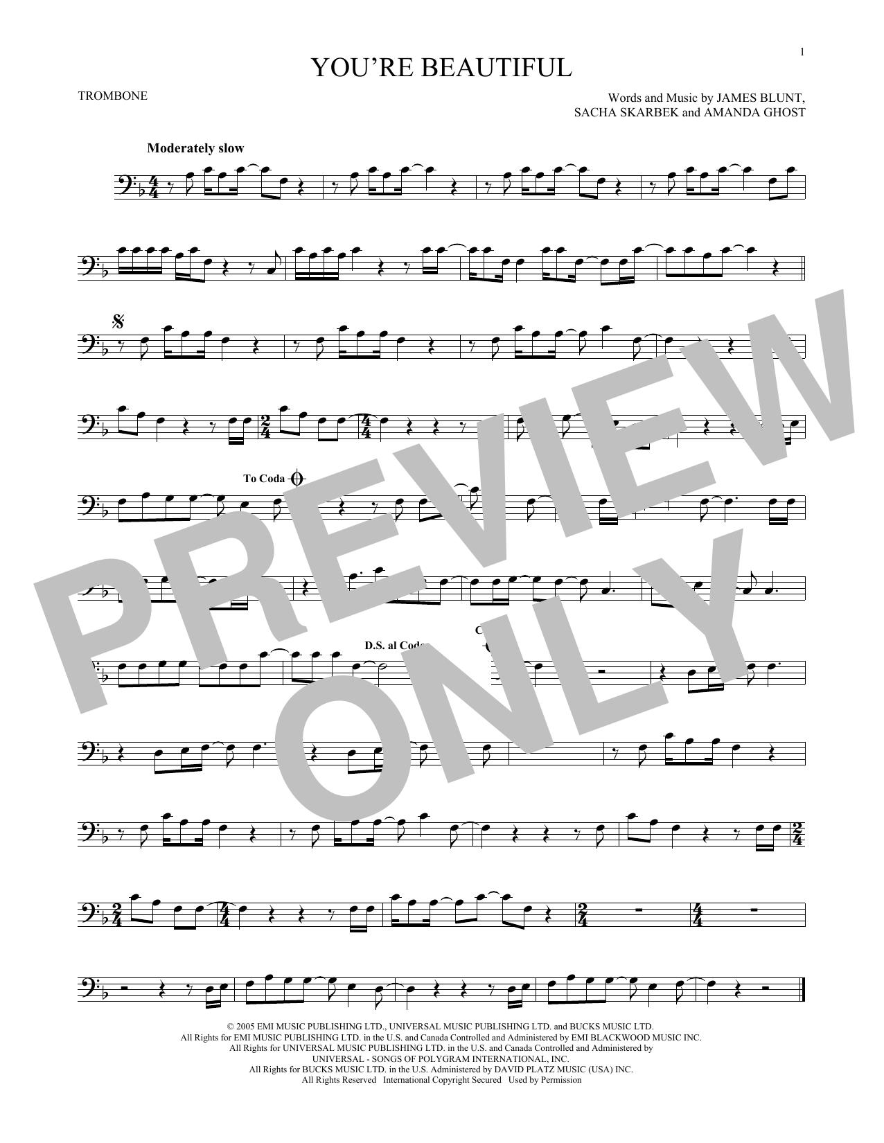 Partition autre You're Beautiful de James Blunt - Trombone