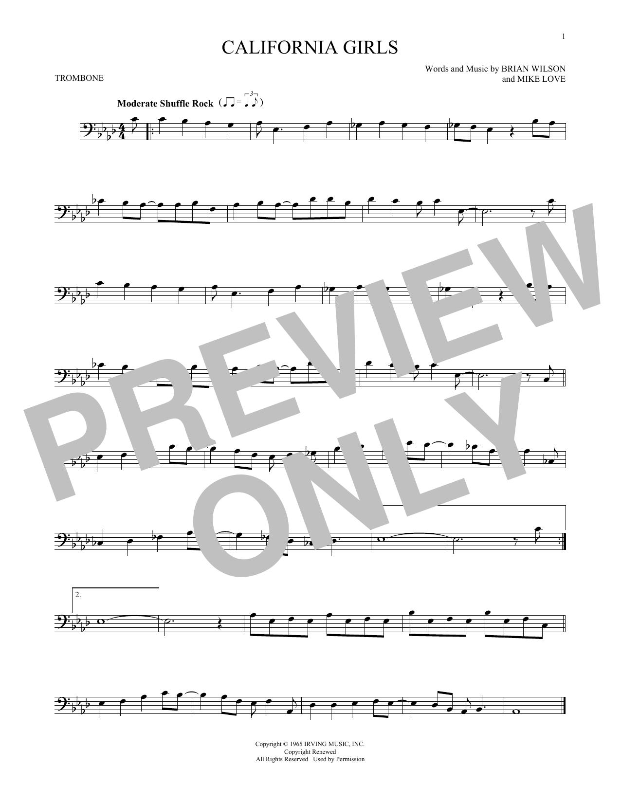 Partition autre California Girls de The Beach Boys - Trombone