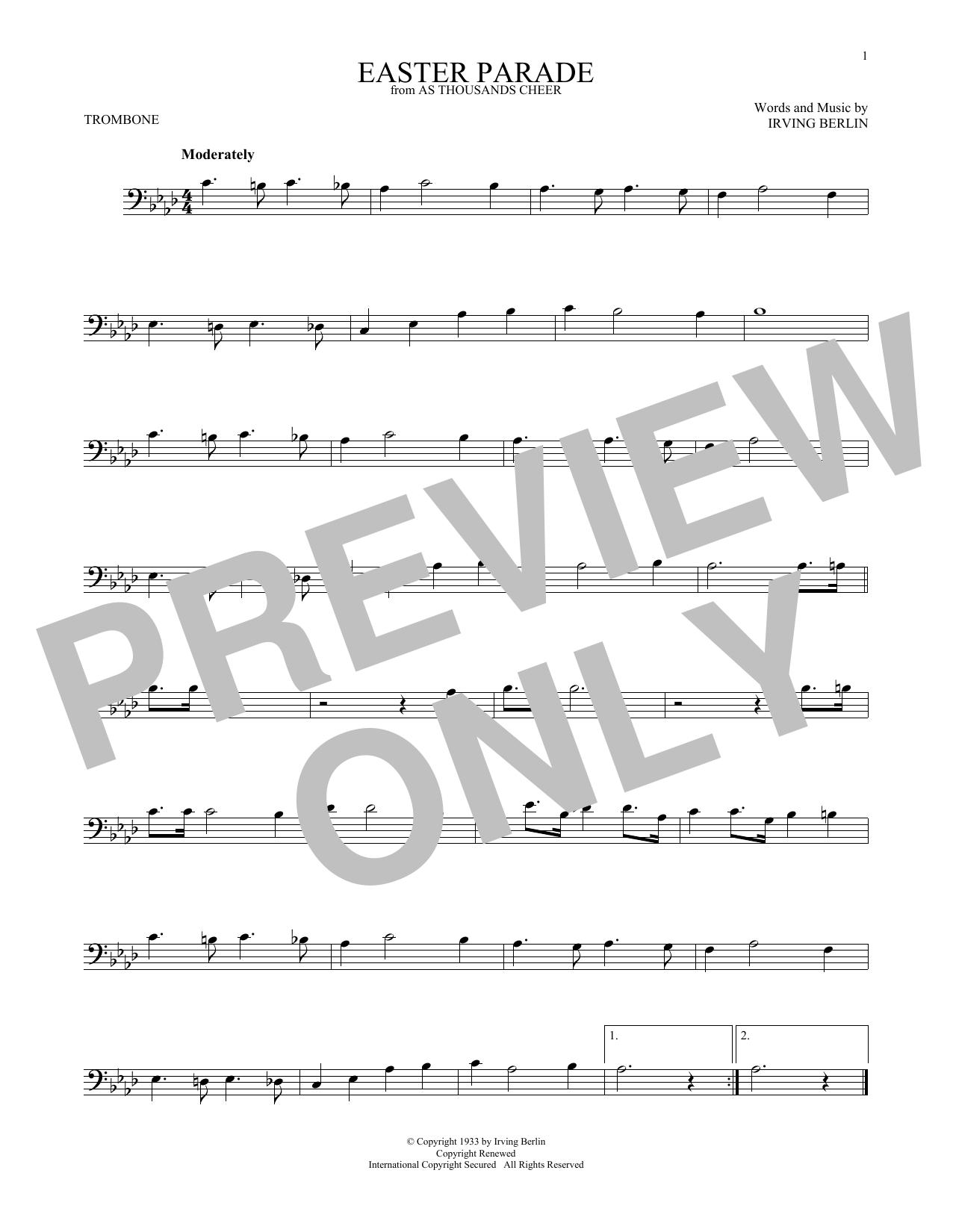 Partition autre Easter Parade de Irving Berlin - Trombone