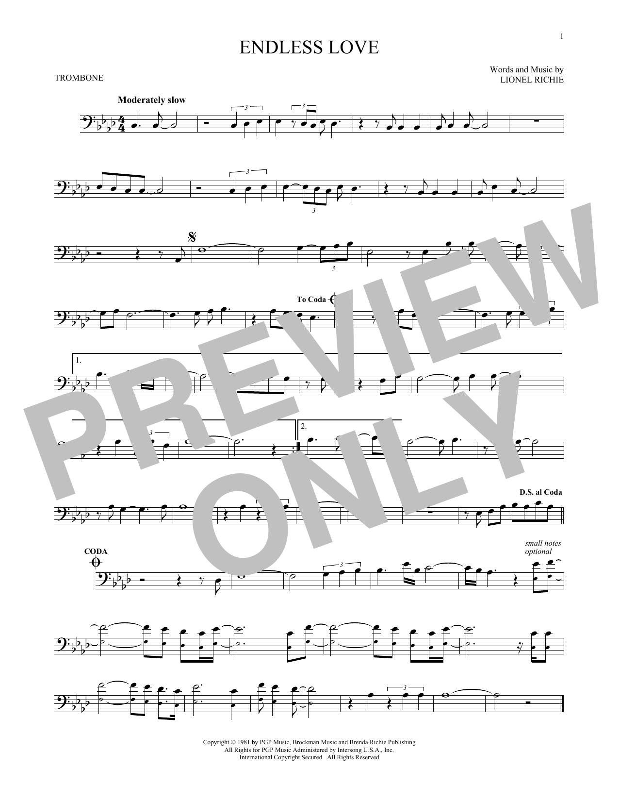 Partition autre Endless Love de Lionel Richie & Diana Ross - Trombone