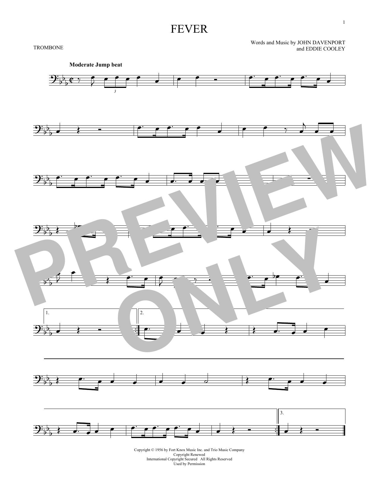 Partition autre Fever de Eddie Cooley - Trombone