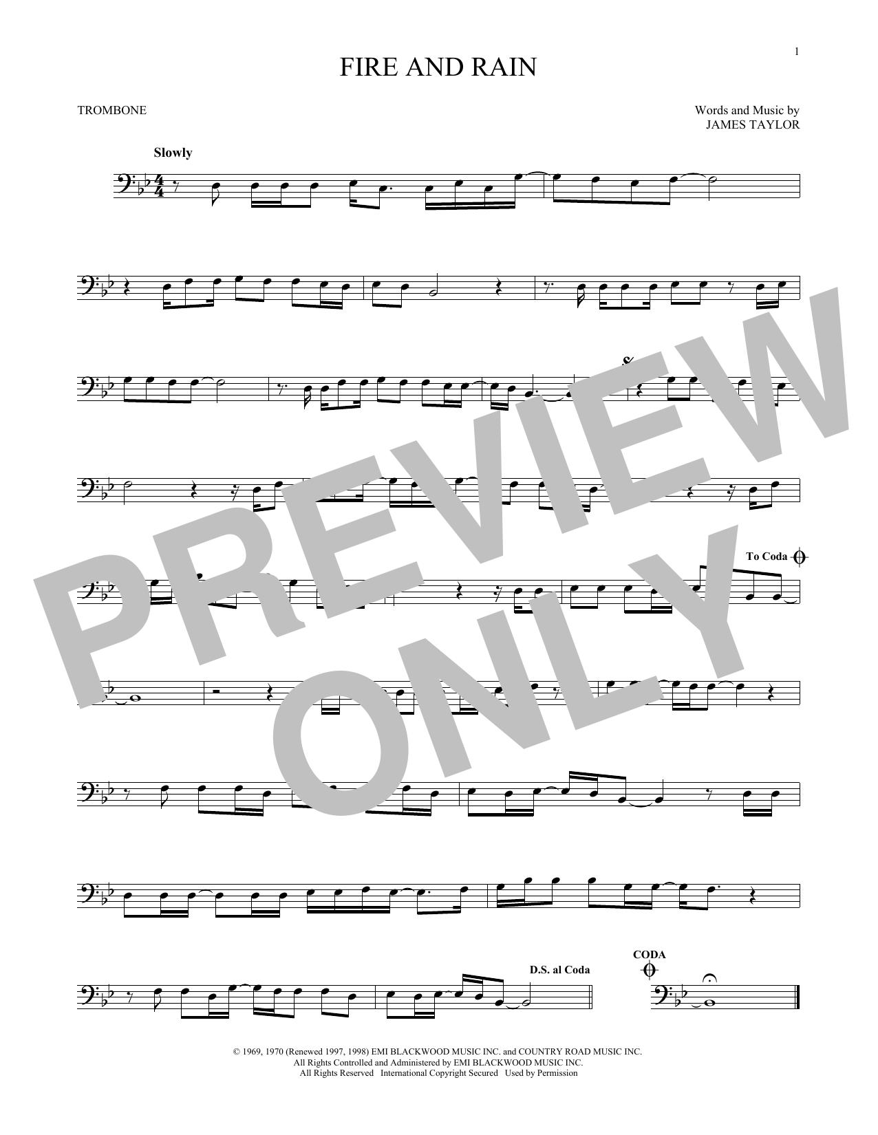 Partition autre Fire And Rain de James Taylor - Trombone