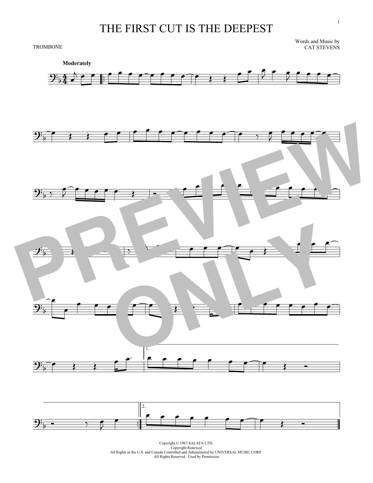 Partition autre The First Cut Is The Deepest de Cat Stevens - Trombone