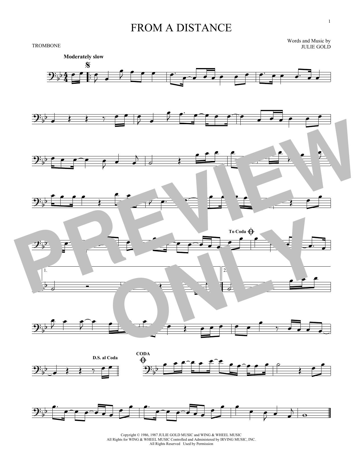 Partition autre From A Distance de Bette Midler - Trombone