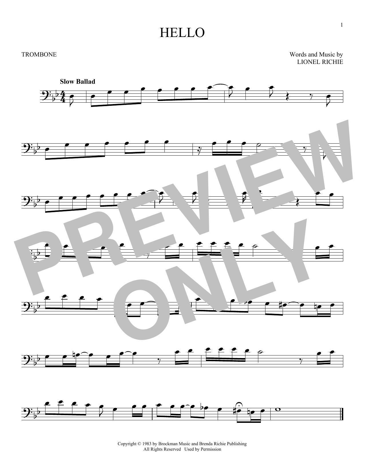 Partition autre Hello de Lionel Richie - Trombone