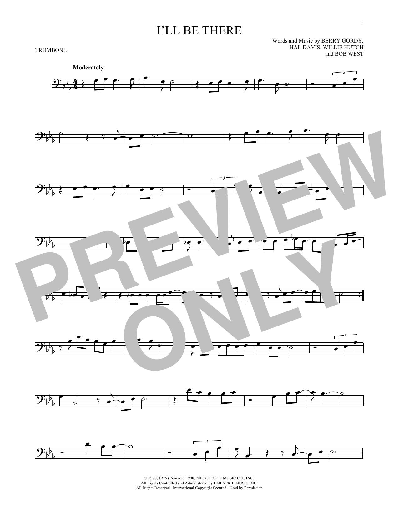 Partition autre I'll Be There de The Jackson 5 - Trombone