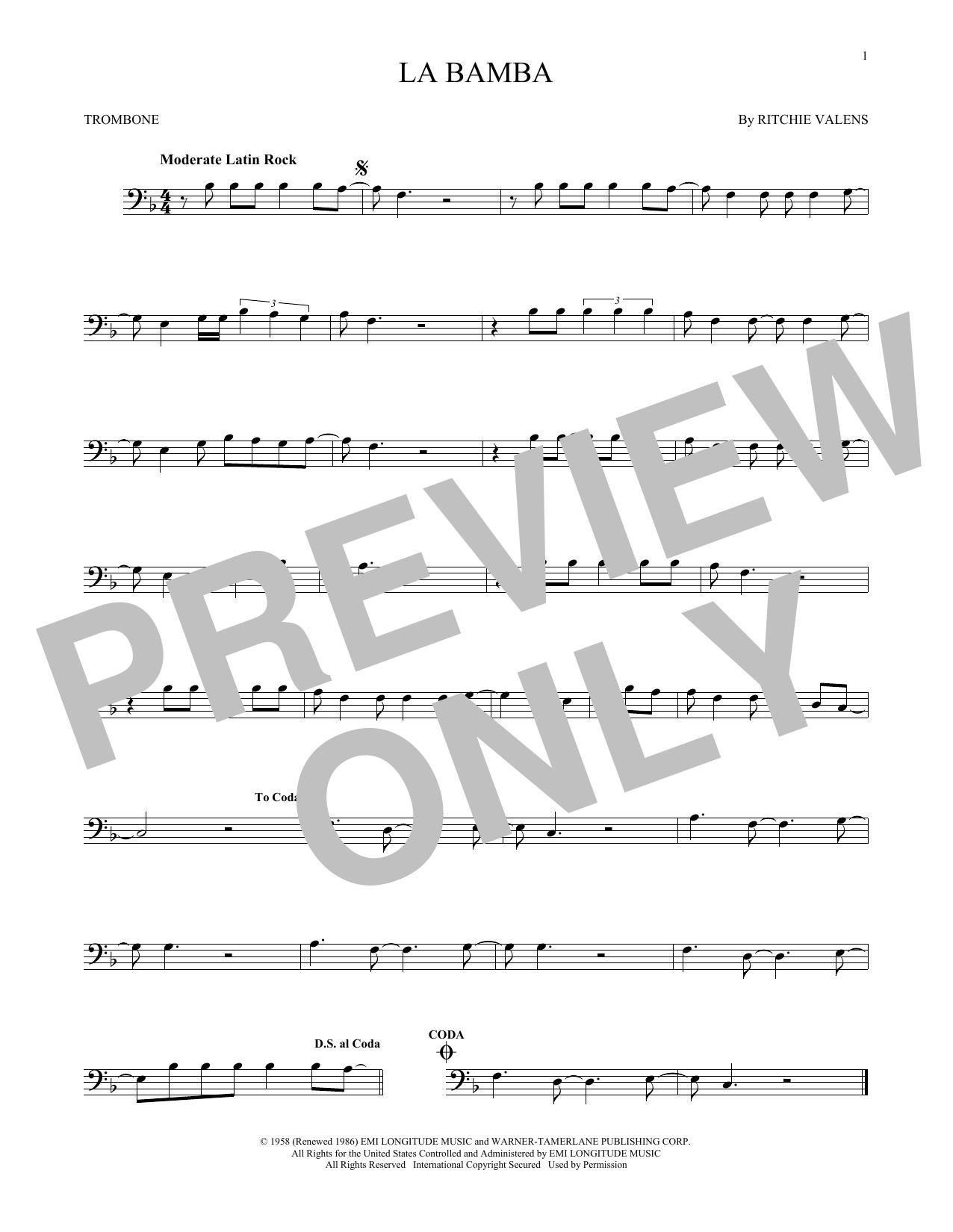 Partition autre La Bamba de Ritchie Valens - Trombone