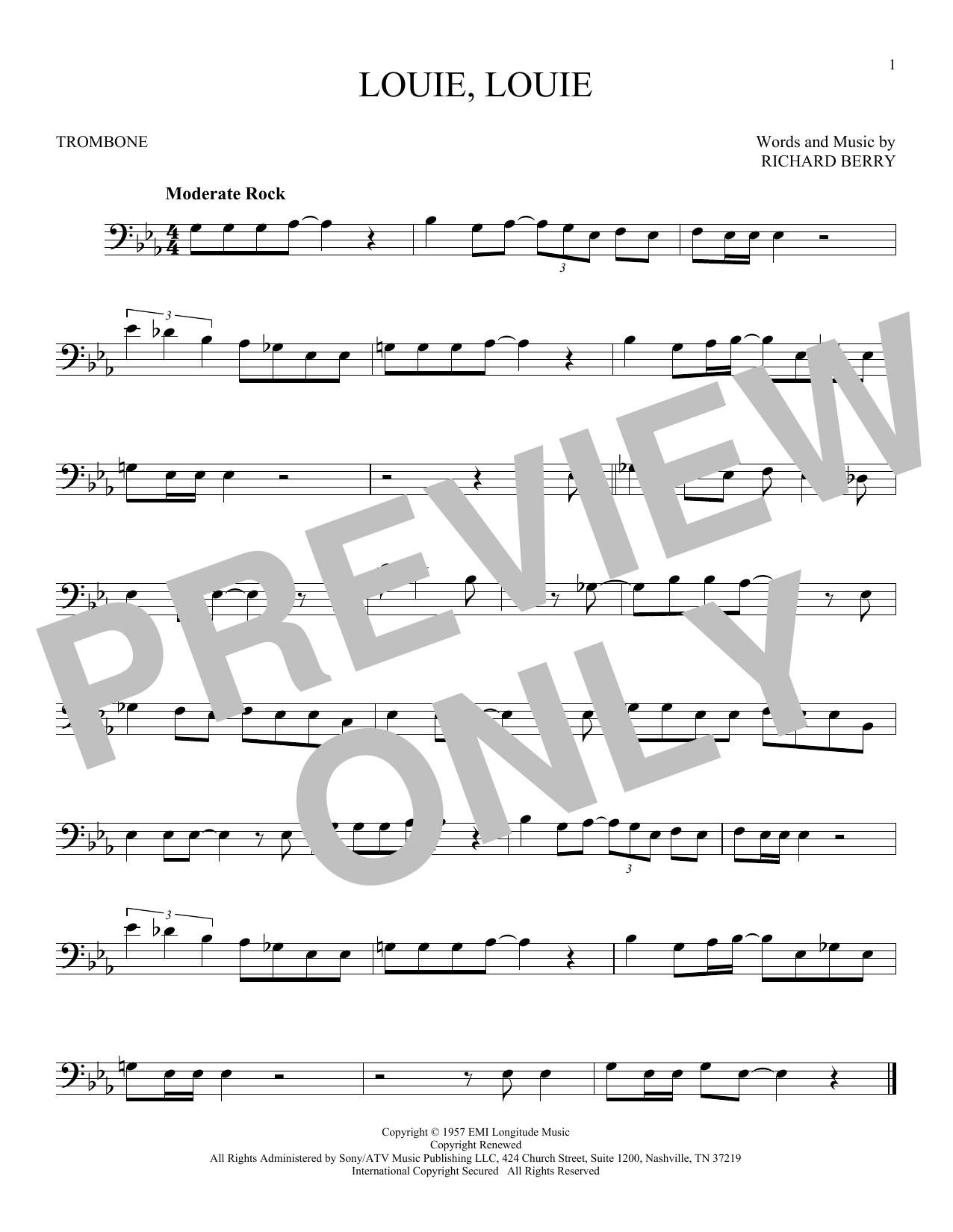 Partition autre Louie, Louie de Kingsmen - Trombone