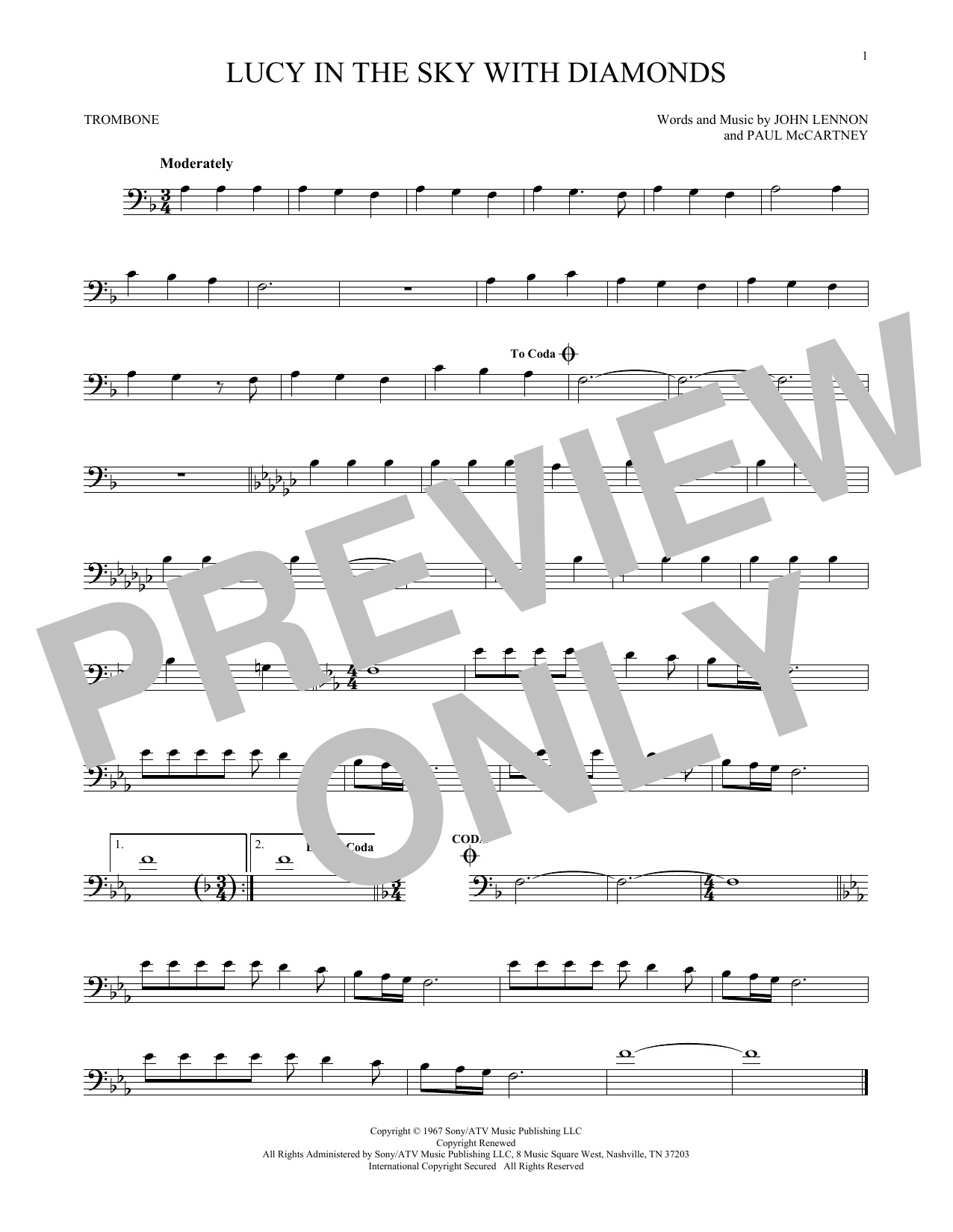 Partition autre Lucy In The Sky With Diamonds de The Beatles - Trombone
