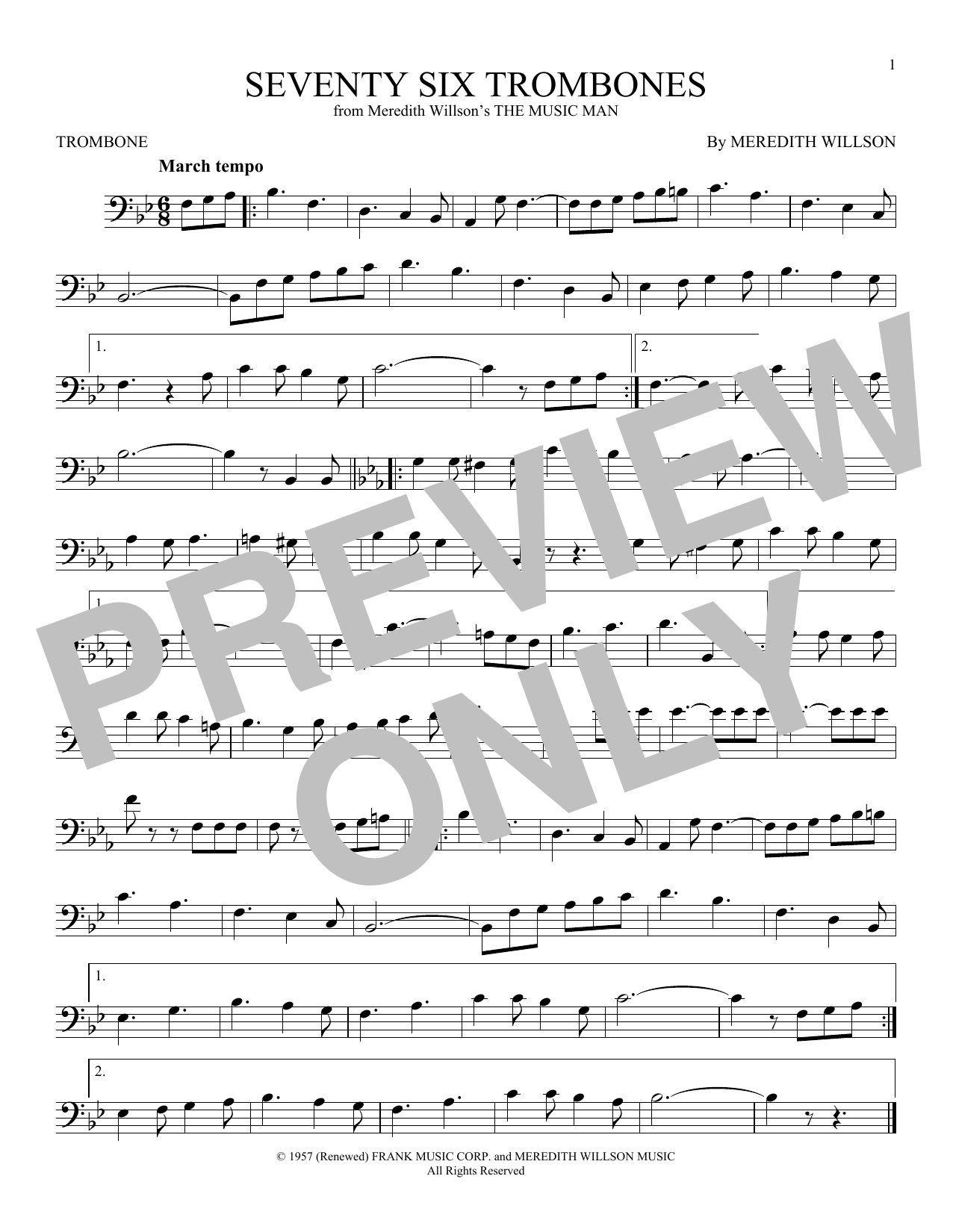 Partition autre Seventy Six Trombones de Meredith Willson - Trombone