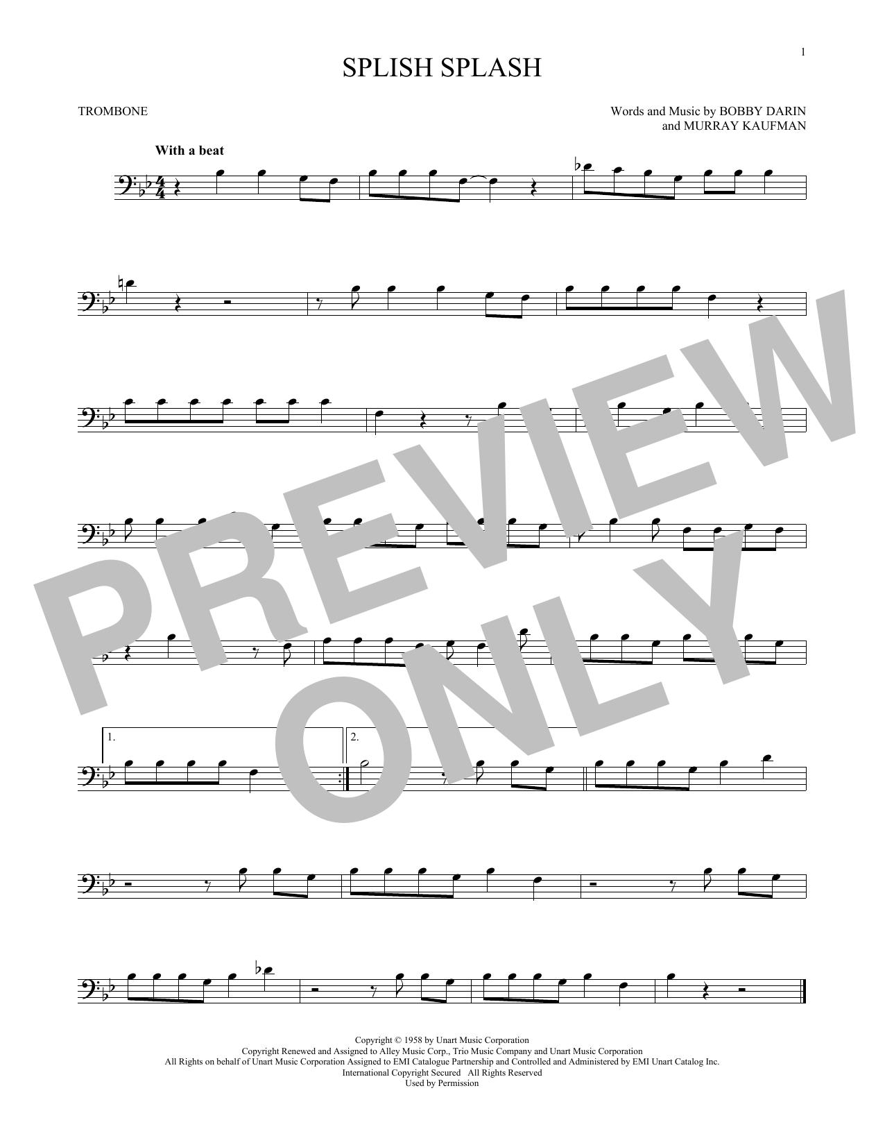 Partition autre Splish Splash de Bobby Darin - Trombone