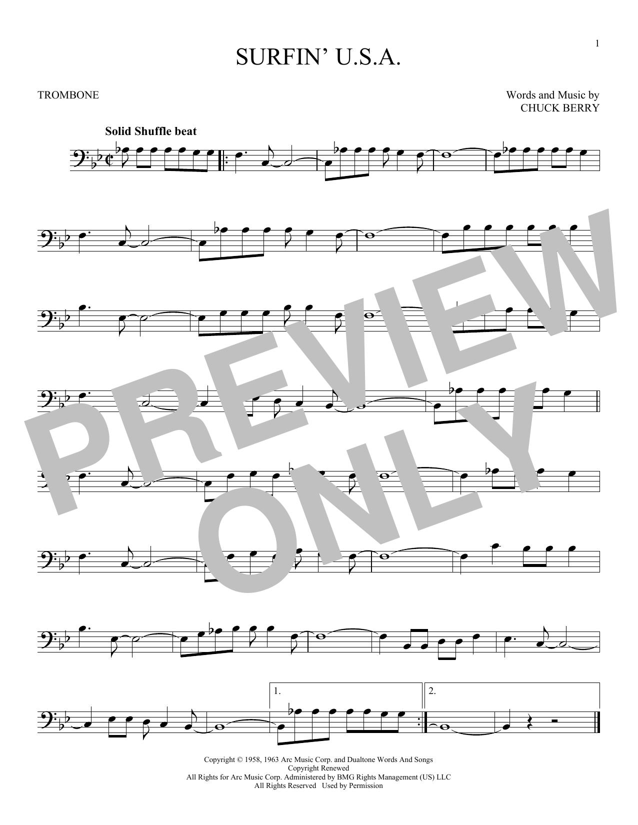 Partition autre Surfin' U.S.A. de The Beach Boys - Trombone