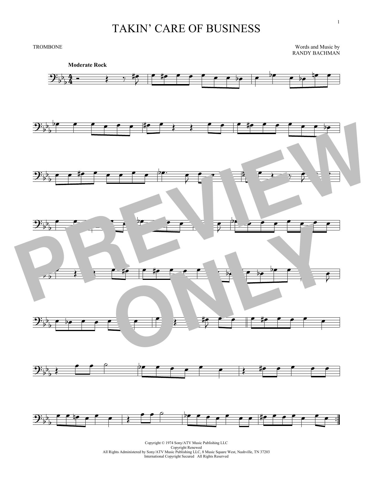 Partition autre Takin' Care Of Business de Bachman-Turner Overdrive - Trombone