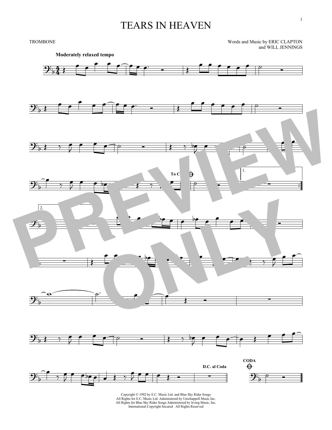 Partition autre Tears In Heaven de Eric Clapton - Trombone