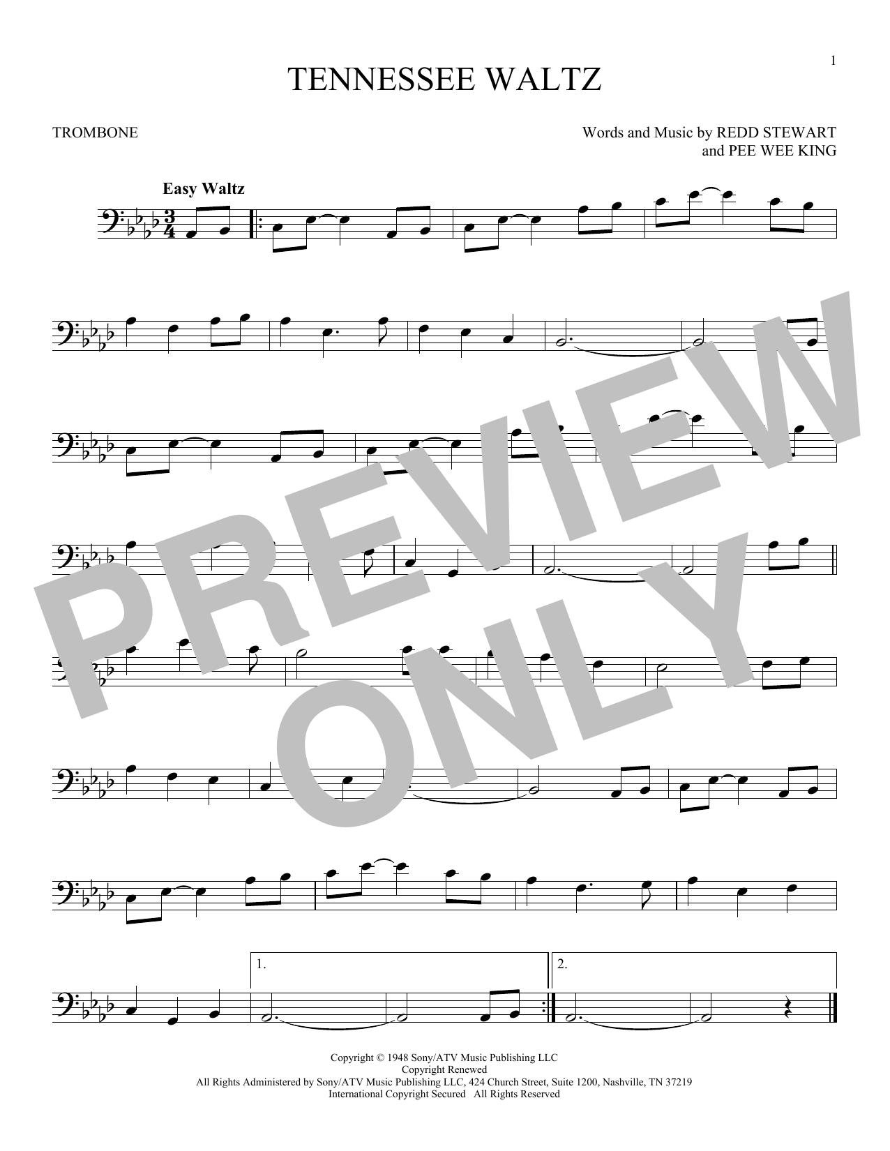 Partition autre Tennessee Waltz de Pee Wee King - Trombone