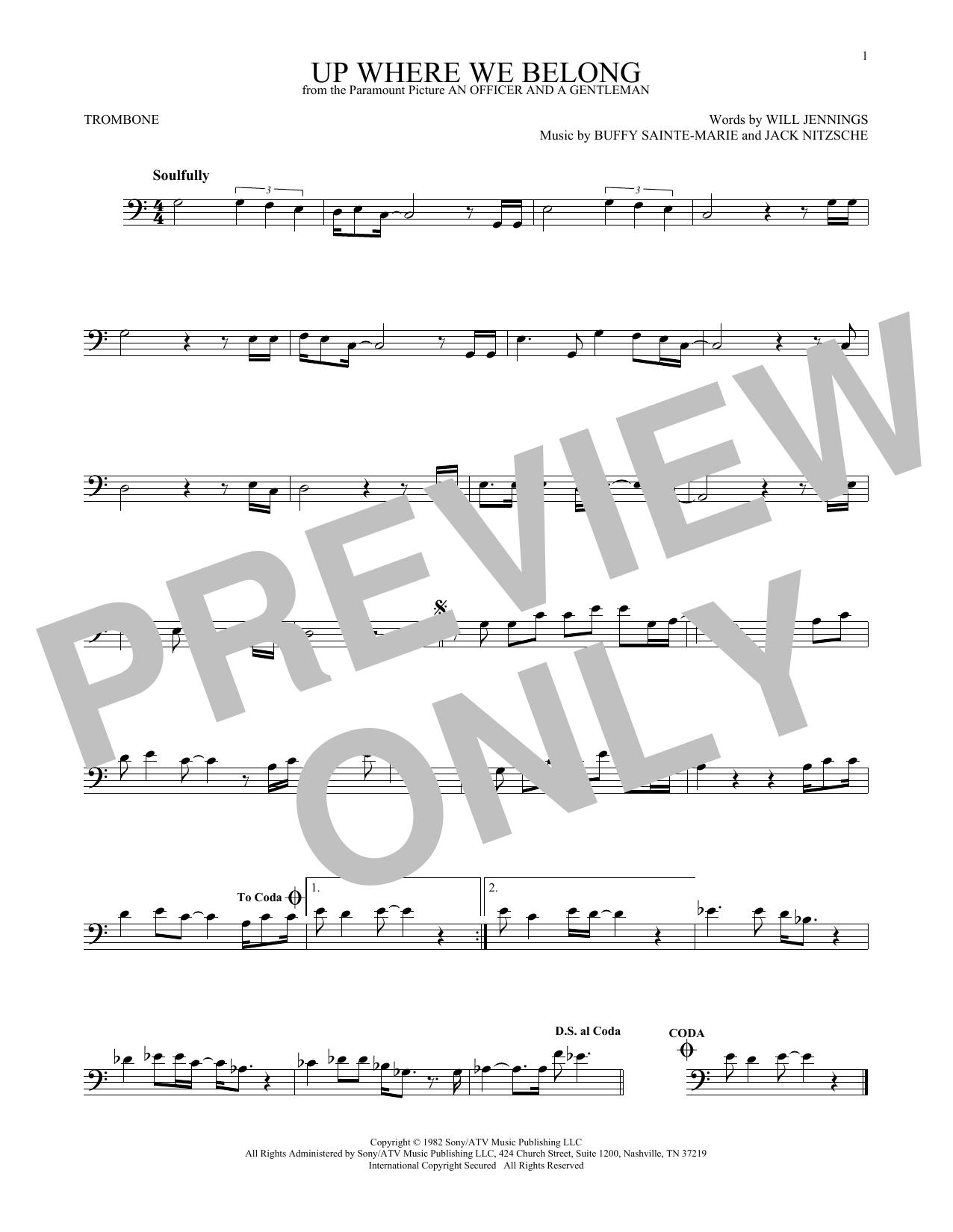 Partition autre Up Where We Belong (from An Officer And A Gentleman) de Joe Cocker and Jennifer Warnes - Trombone
