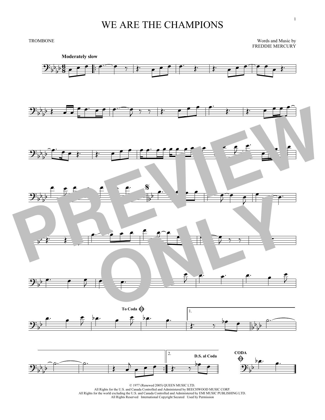 Partition autre We Are The Champions de Queen - Trombone