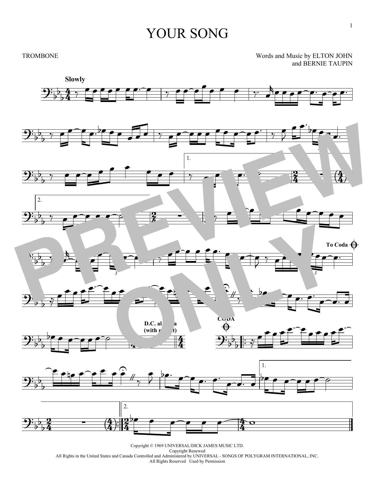 Partition autre Your Song de Elton John - Trombone