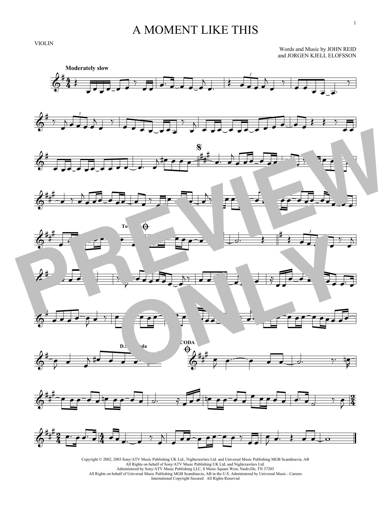 Partition autre A Moment Like This de Kelly Clarkson - Violon