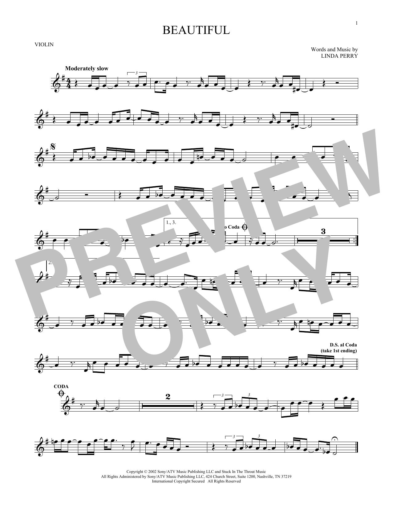 Partition autre Beautiful de Christina Aguilera - Violon