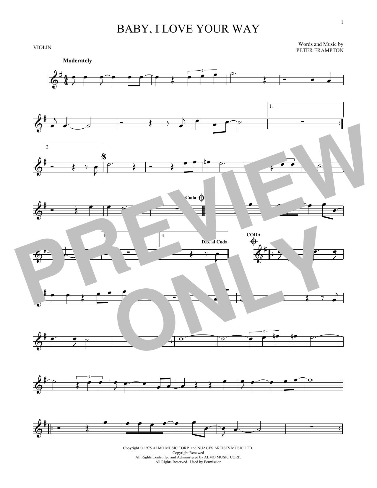 Partition autre Baby, I Love Your Way de Peter Frampton - Violon