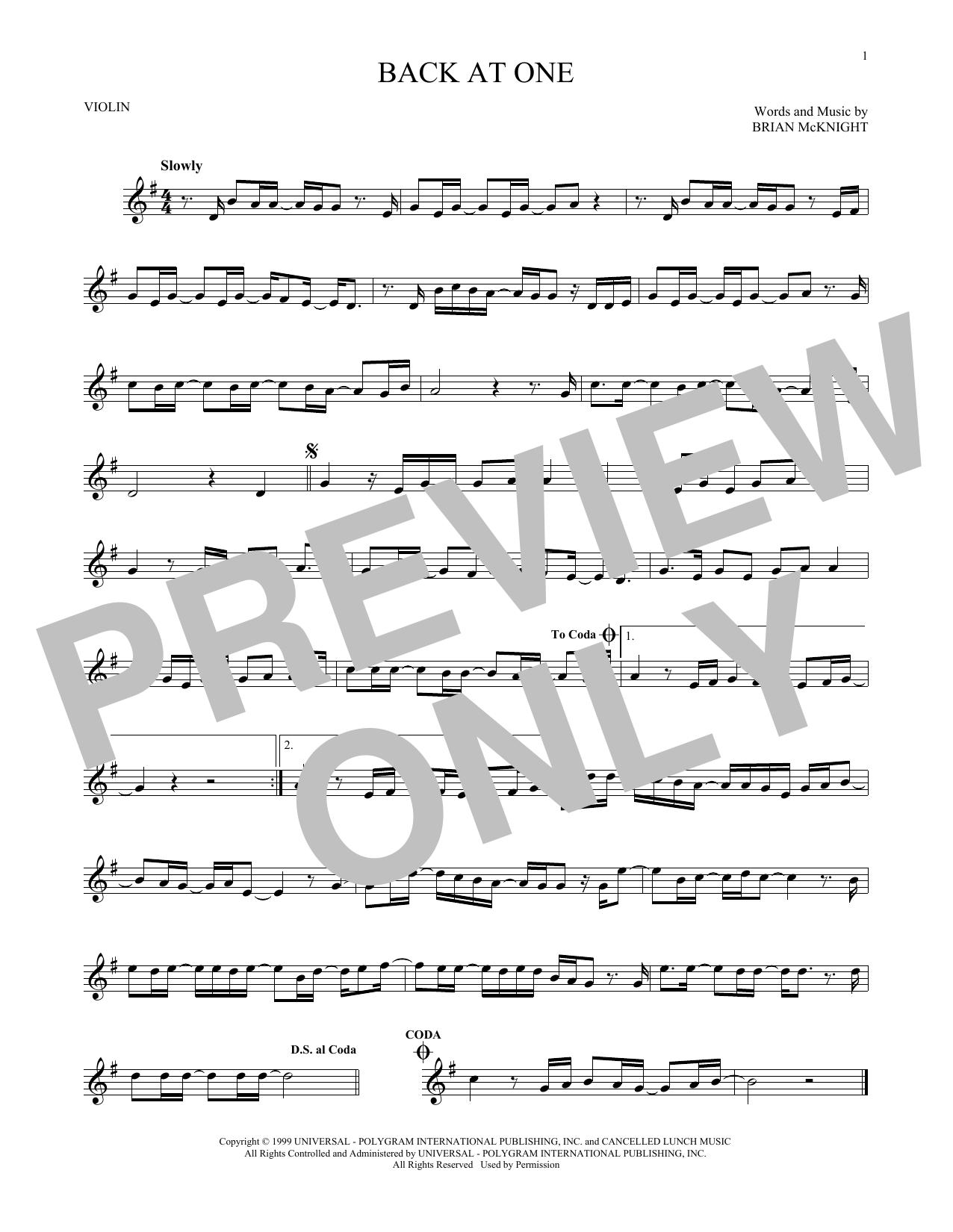 Partition autre Back At One de Brian McKnight - Violon