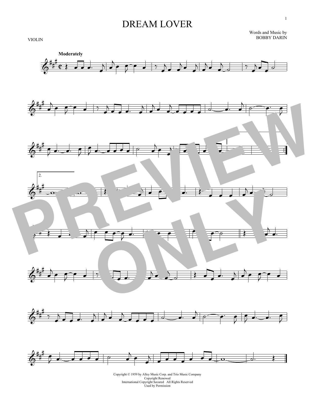Partition autre Dream Lover de Bobby Darin - Violon