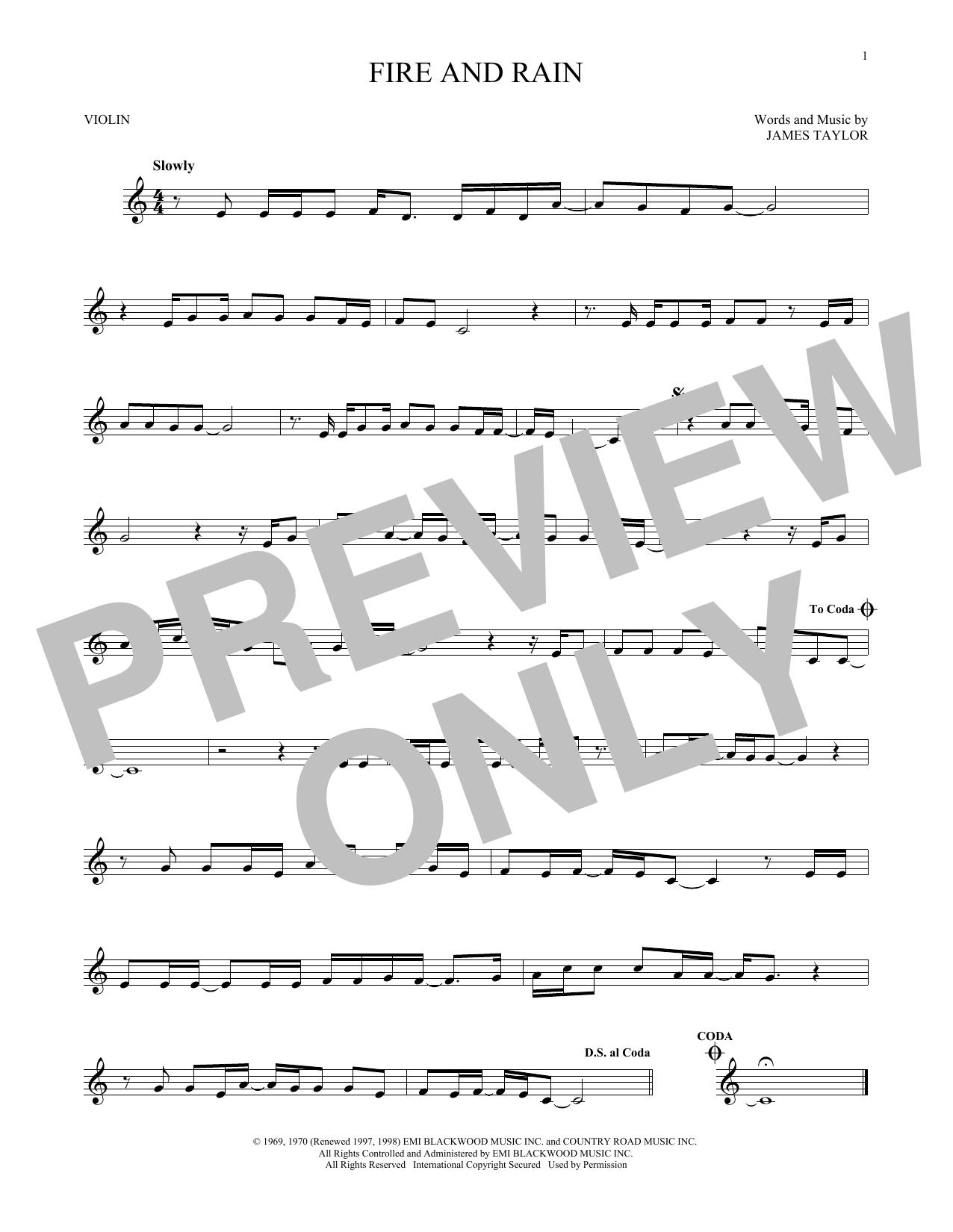 Partition autre Fire And Rain de James Taylor - Violon