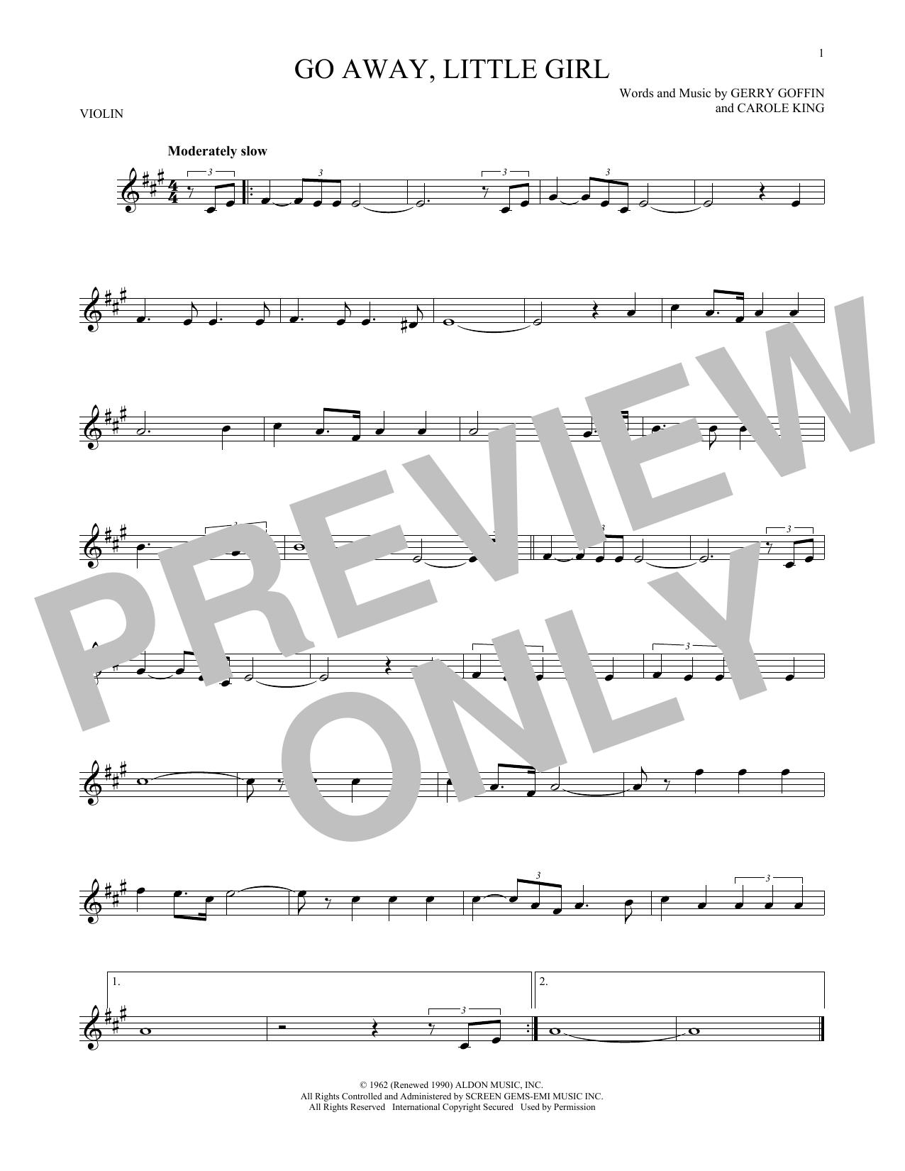 Partition autre Go Away, Little Girl de Donny Osmond - Violon