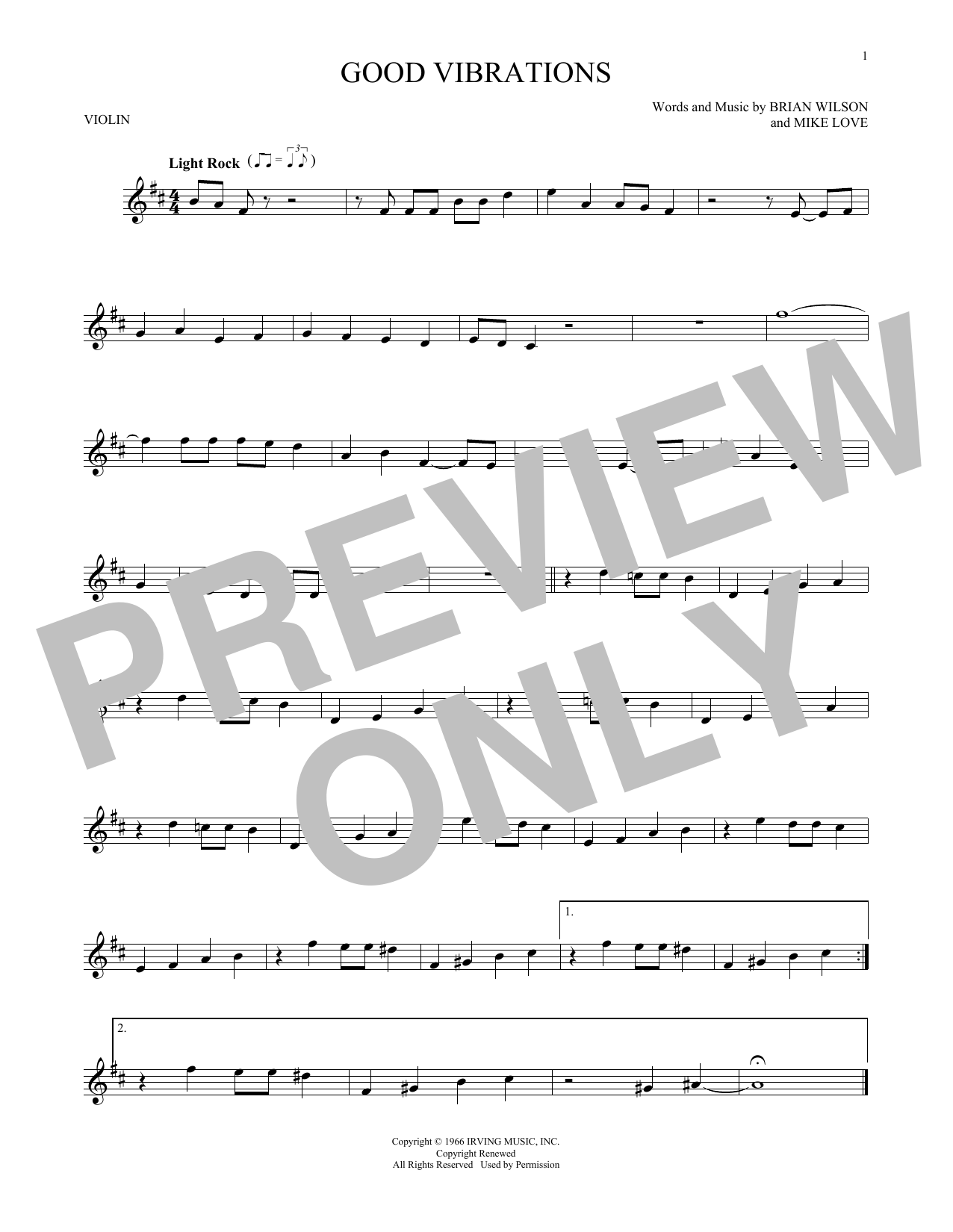 Partition autre Good Vibrations de The Beach Boys - Violon