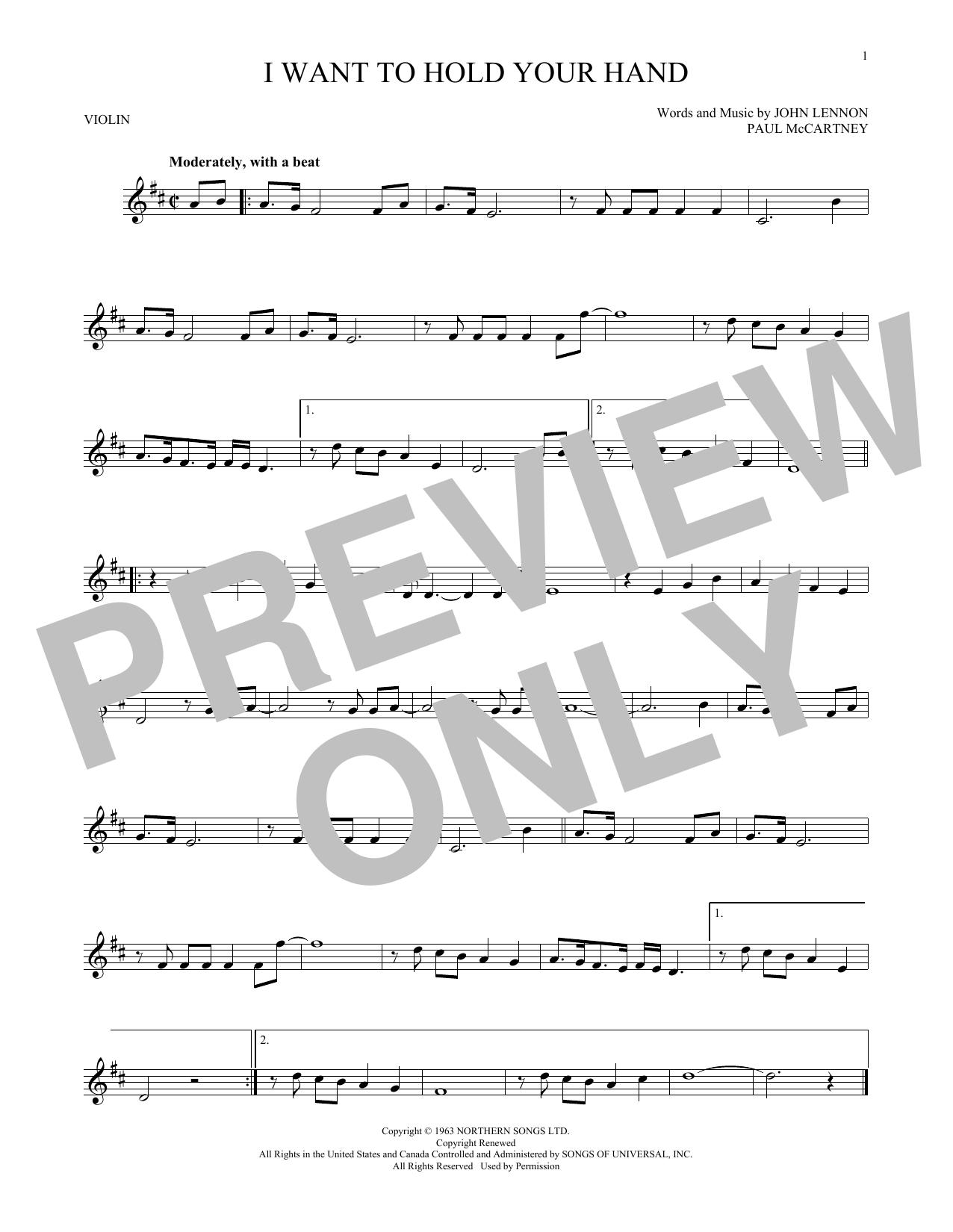 Partition autre I Want To Hold Your Hand de The Beatles - Violon