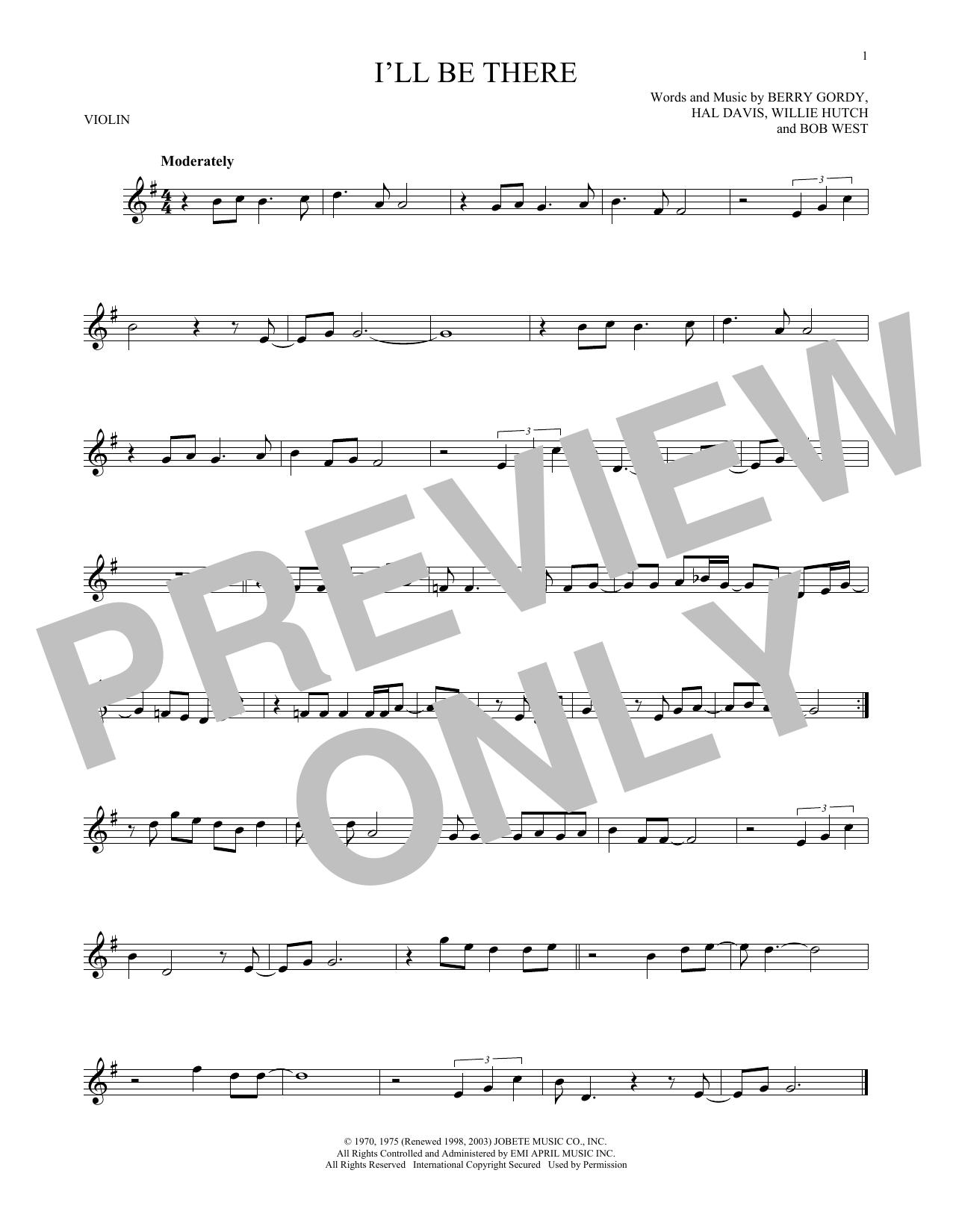 Partition autre I'll Be There de The Jackson 5 - Violon