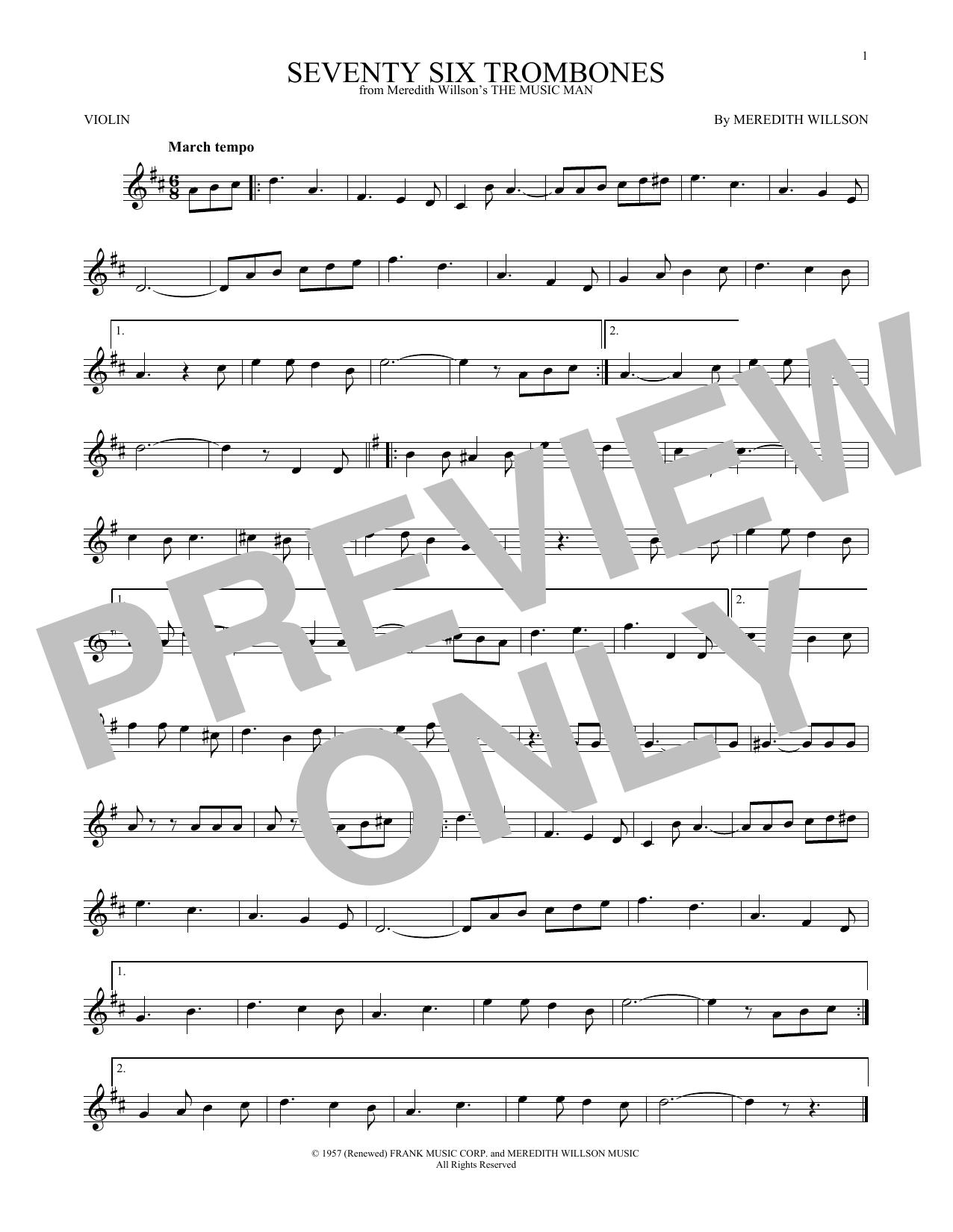 Partition autre Seventy Six Trombones de Meredith Willson - Violon